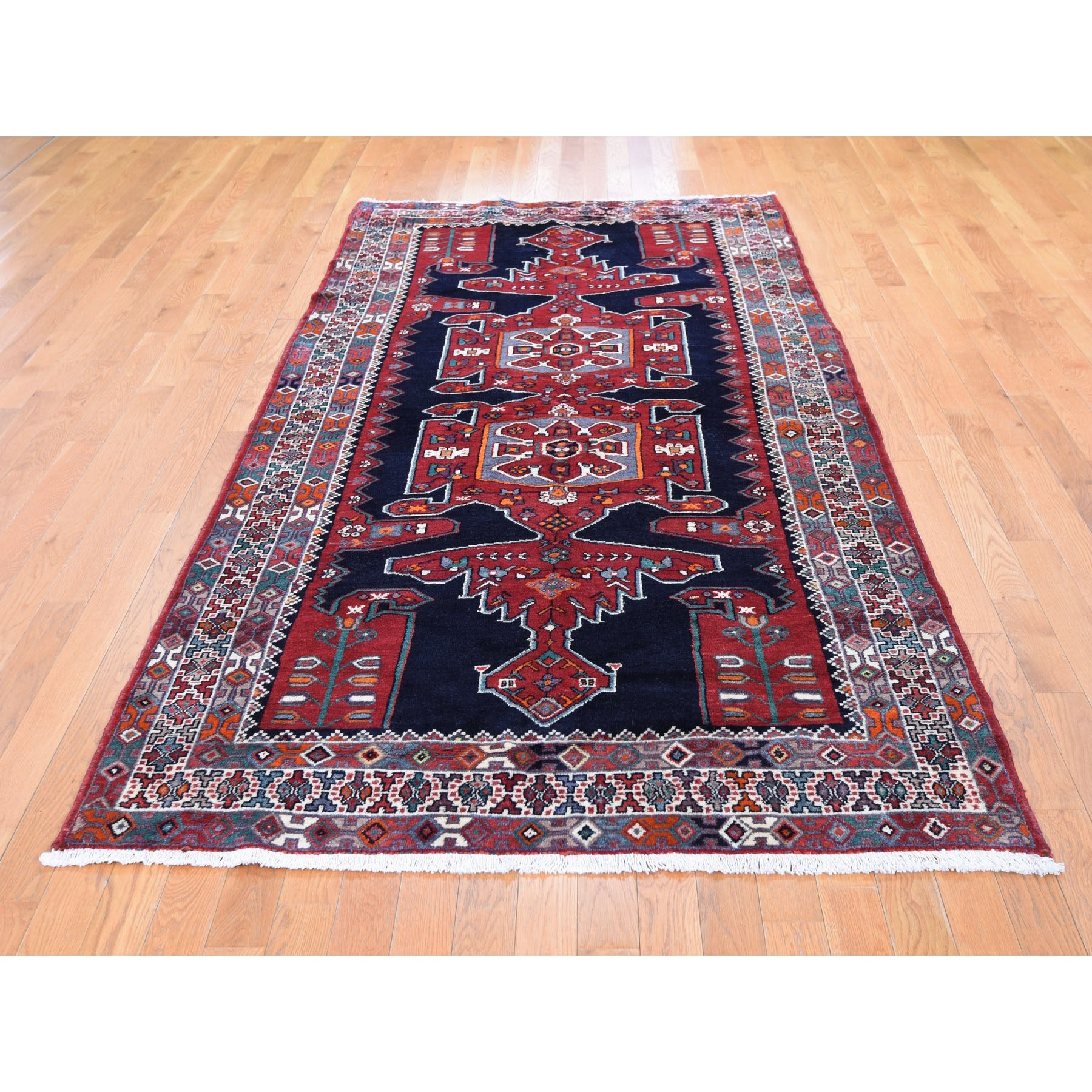 4-8 x9-7  Gallery Size Navy Blue New Persian Hamadan Pure Wool Hand Knotted Oriental Rug