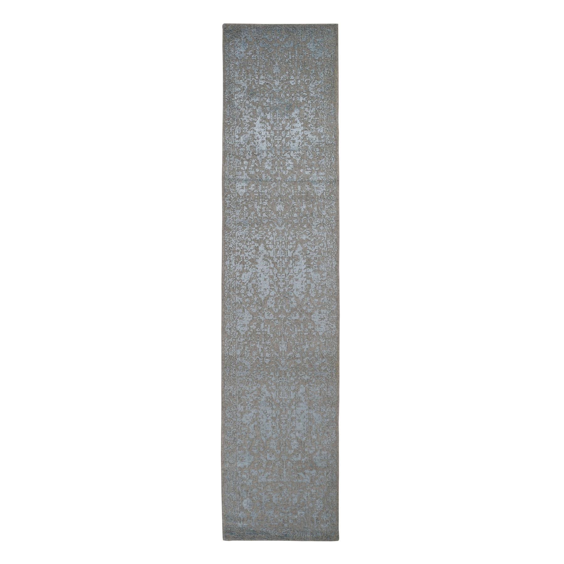 "2'5""x12'1"" Gray Jacquard Hand Loomed Wool And Art Silk Heriz Design Runner Oriental Rug 49147"