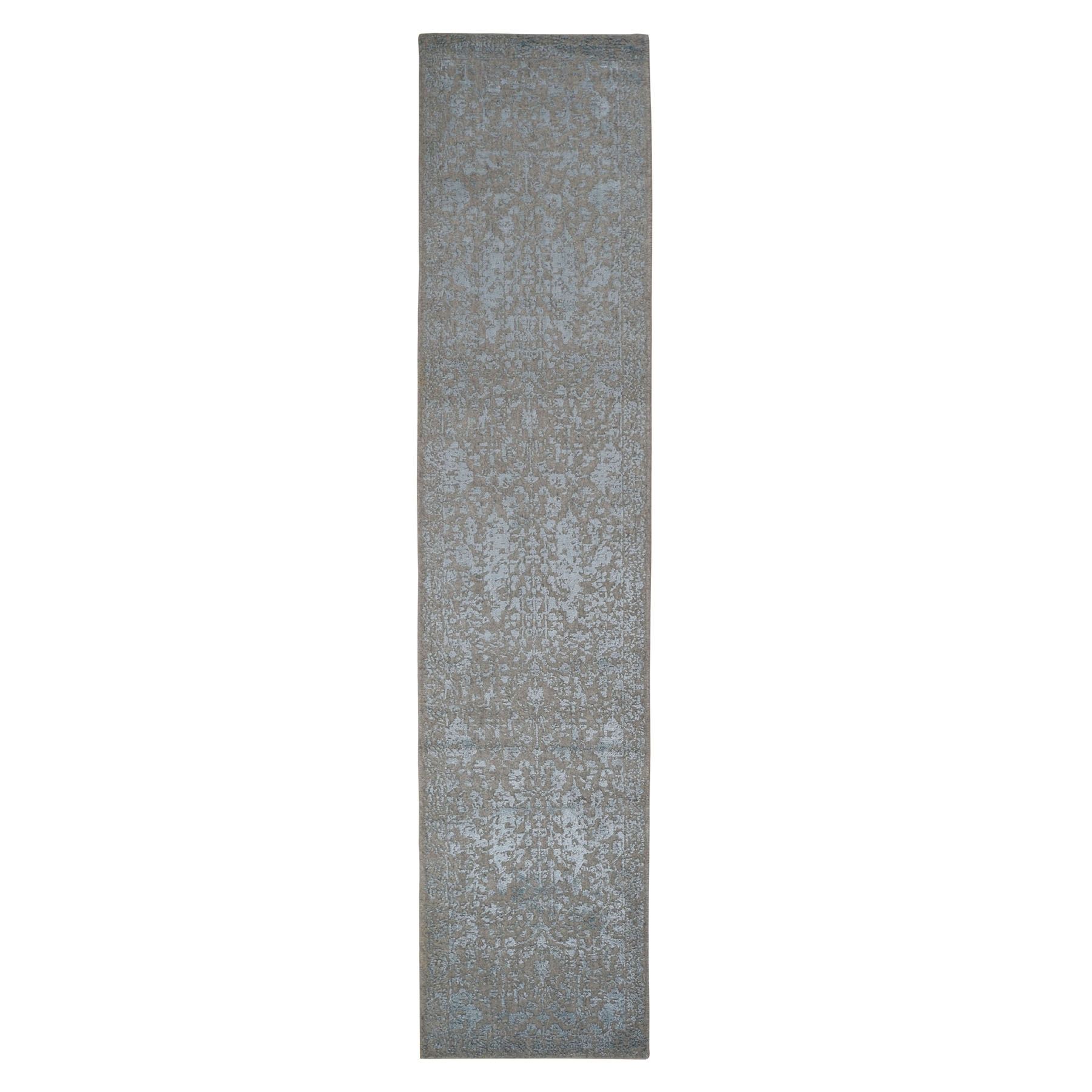 "2'6""x12'1"" Gray Jacquard Hand Loomed Wool And Art Silk Heriz Design Runner Oriental Rug"