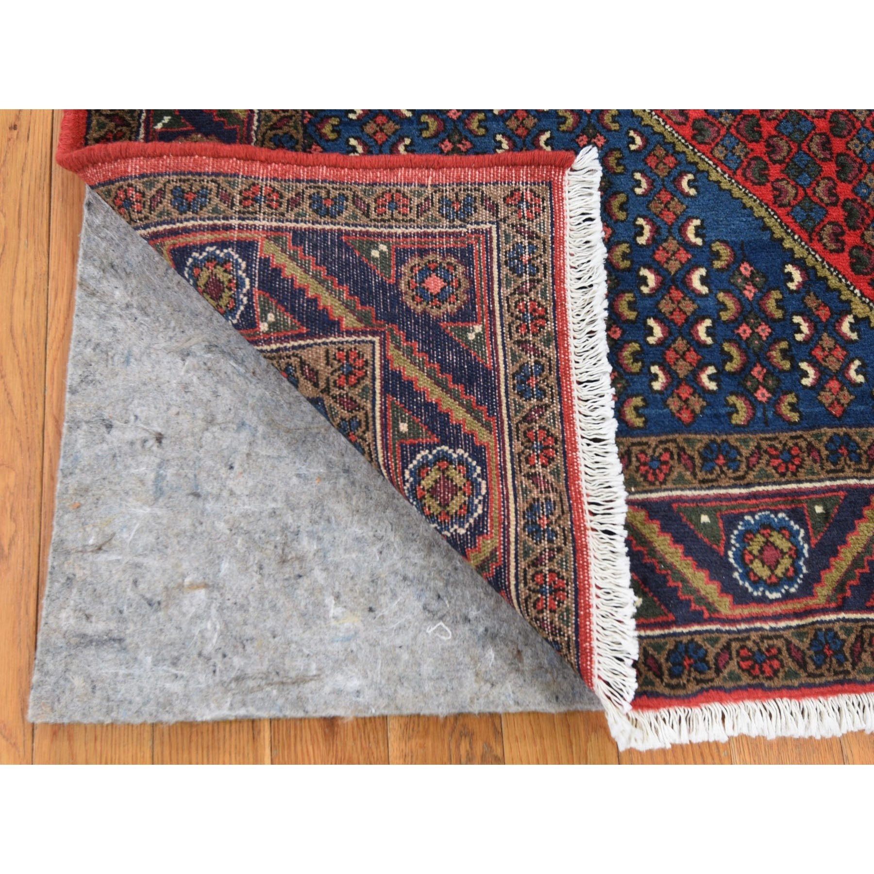 """4'9""""x7'2"""" Red New Persian Senneh Signed Pure Wool Hand Knotted Oriental Rug"""
