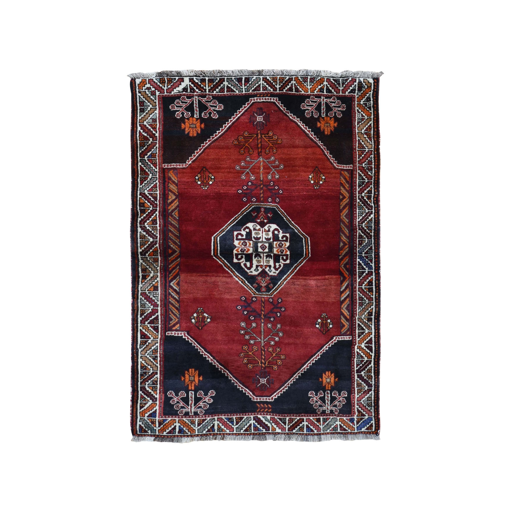 "4'x5'9"" Red New Persian Shiraz Abrush Pure Wool Hand Knotted Oriental Rug"