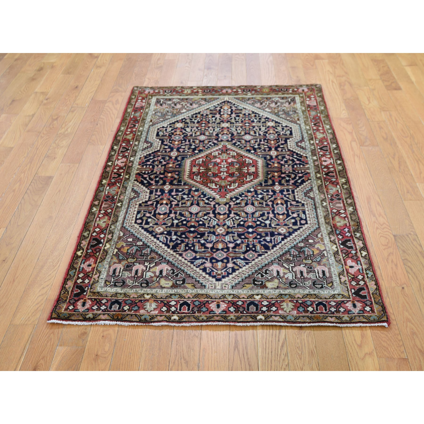 "3'5""x5'7"" Navy Blue Vintage Persian Tabriz Pure Wool Hand Knotted Oriental Rug"