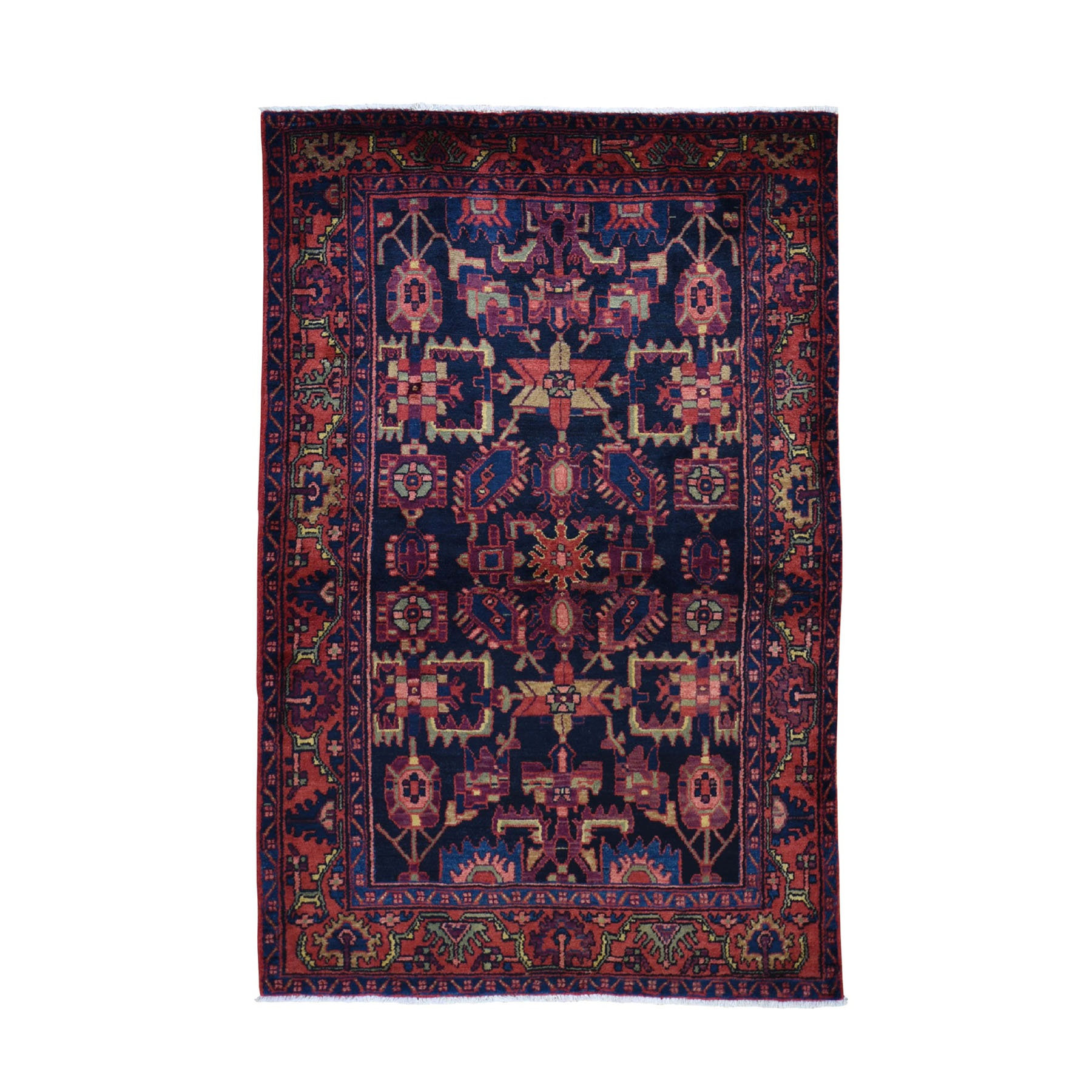"4'7""x7'2"" Navy Blue New Persian Hamadan Pure Wool Hand Knotted Oriental Rug"