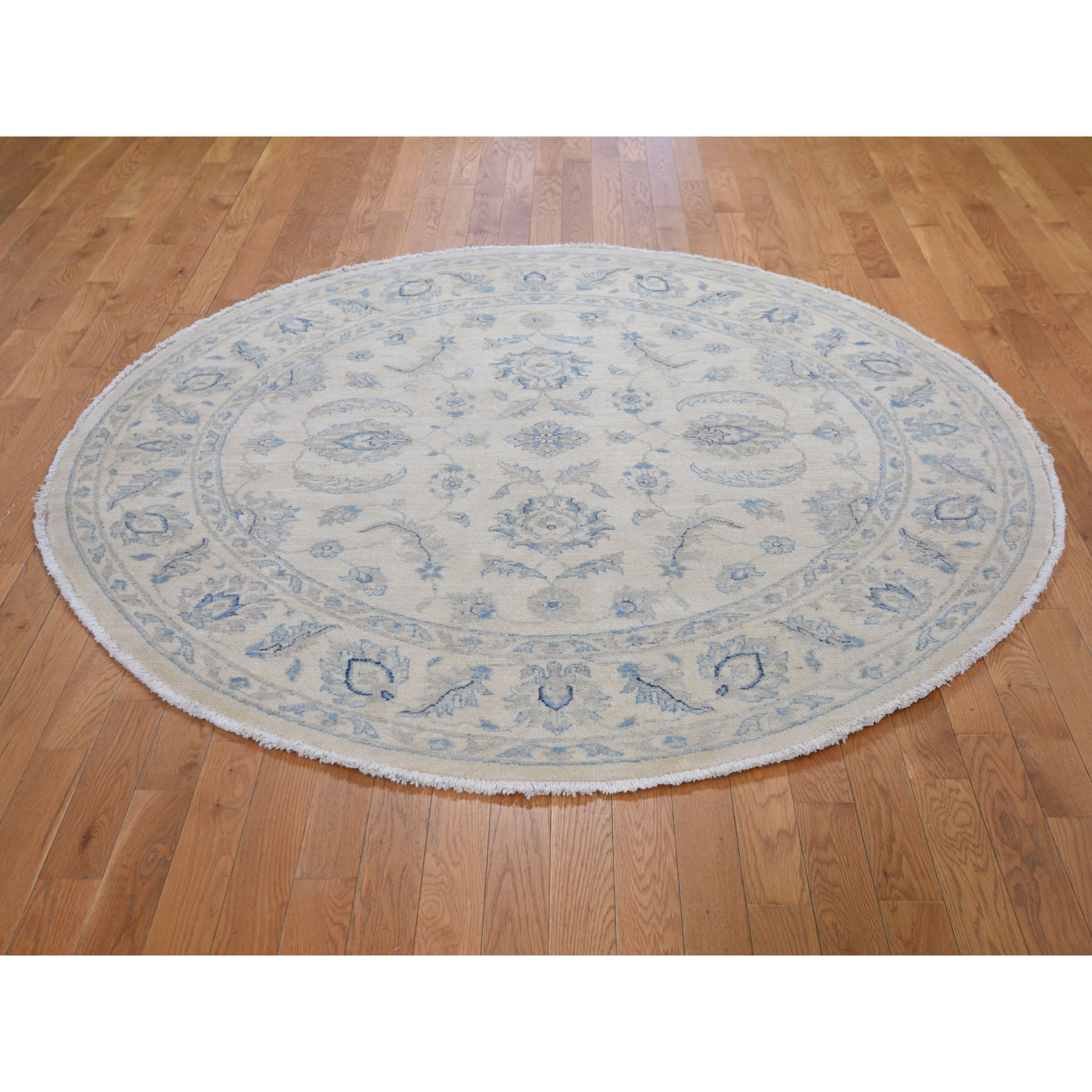 """6'1""""x6'1"""" Ivory Zeigler Mahal Round Hand Knotted Pure Wool Oriental Rug"""
