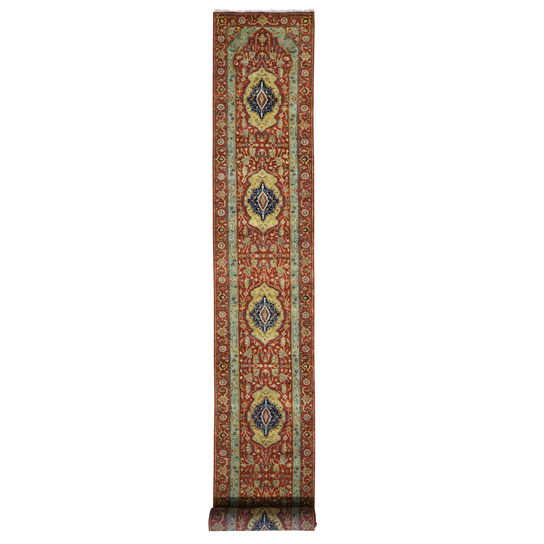 "2'8""x20' Red Antiqued Heriz Pure Wool XL Runner Hand Knotted Oriental Rug"