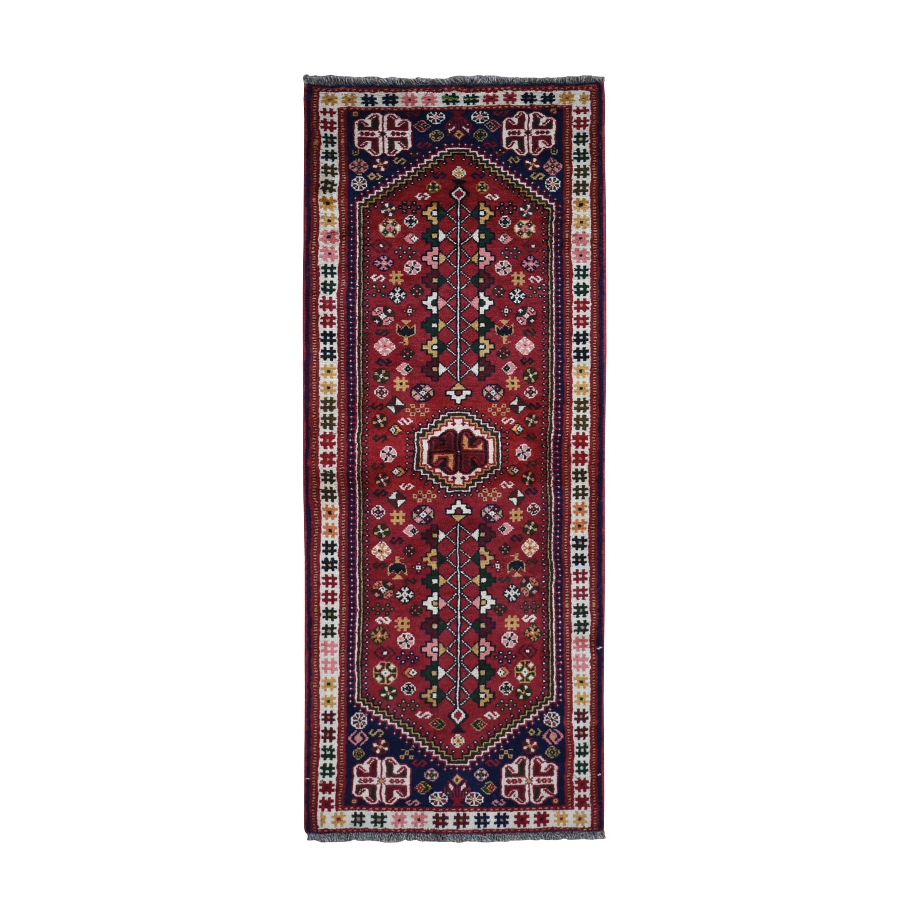 "2'5""x6'9"" Red New Persian Shiraz Pure Wool Runner Hand Knotted Oriental Rug"