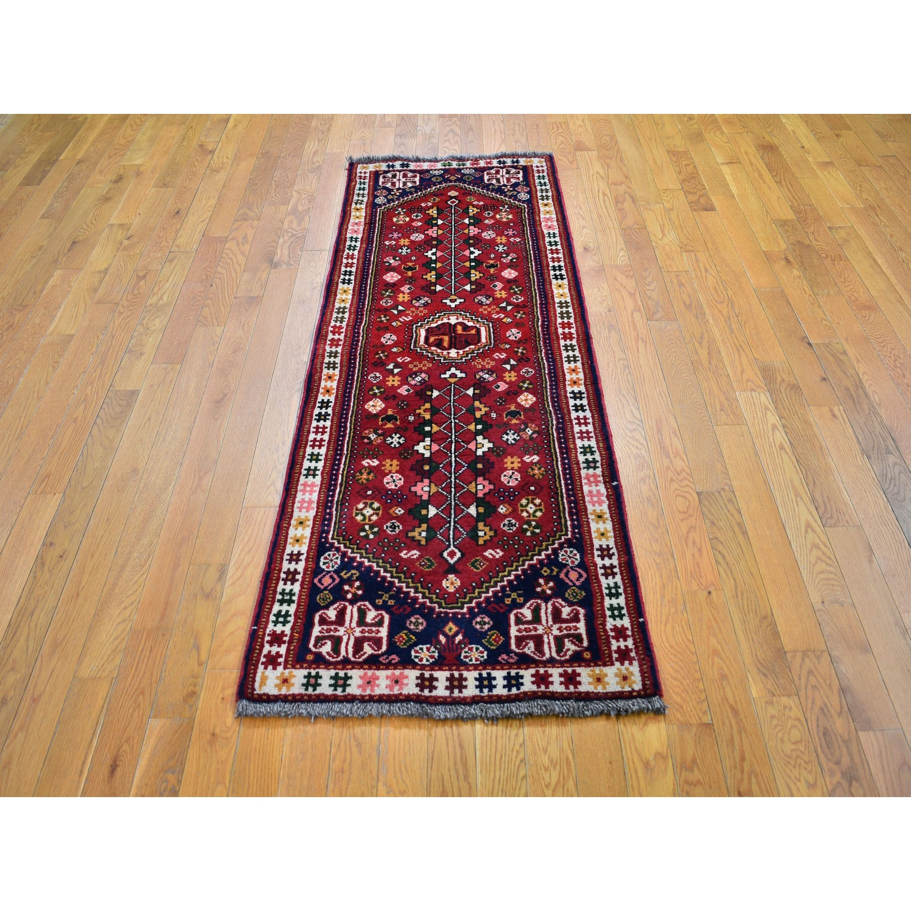 """2'5""""x6'9"""" Red New Persian Shiraz Pure Wool Runner Hand Knotted Oriental Rug"""