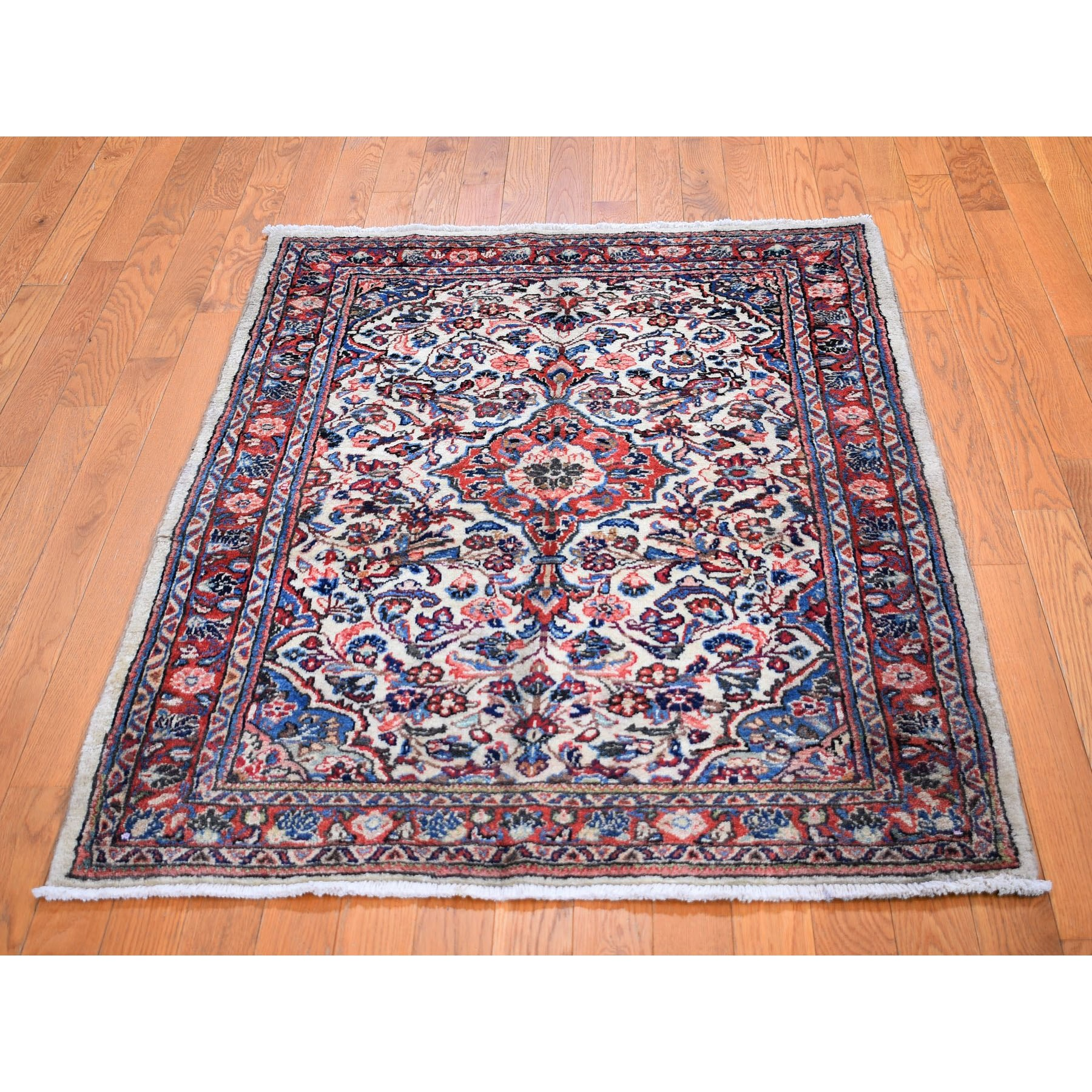 """3'7""""x5' Ivory Vintage Persian Sarouk Clean hand Knotted Oriental Rug"""