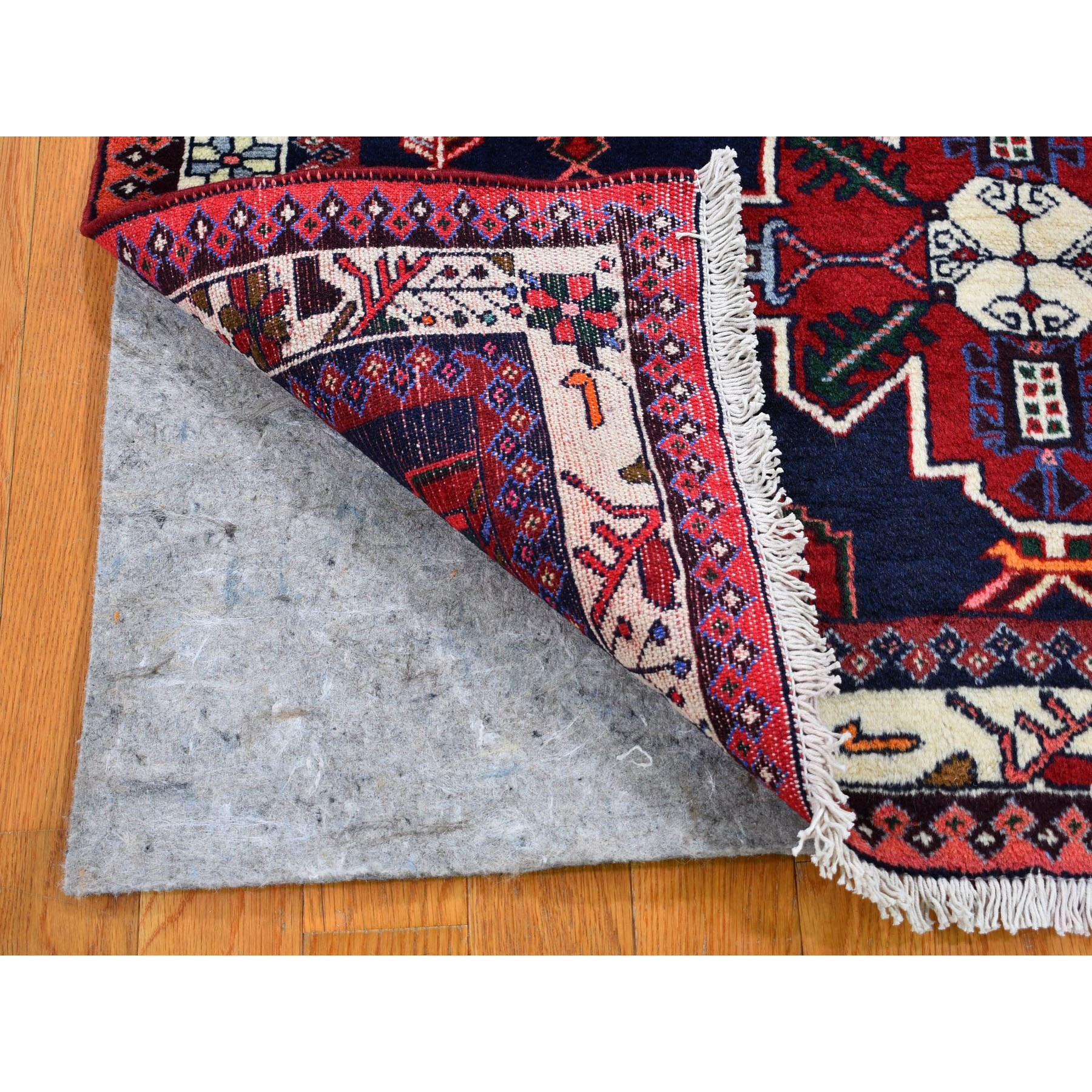 "3'7""x5'  Navy Blue New Persian Hamadan Pure Wool Hand Knotted Oriental Rug"