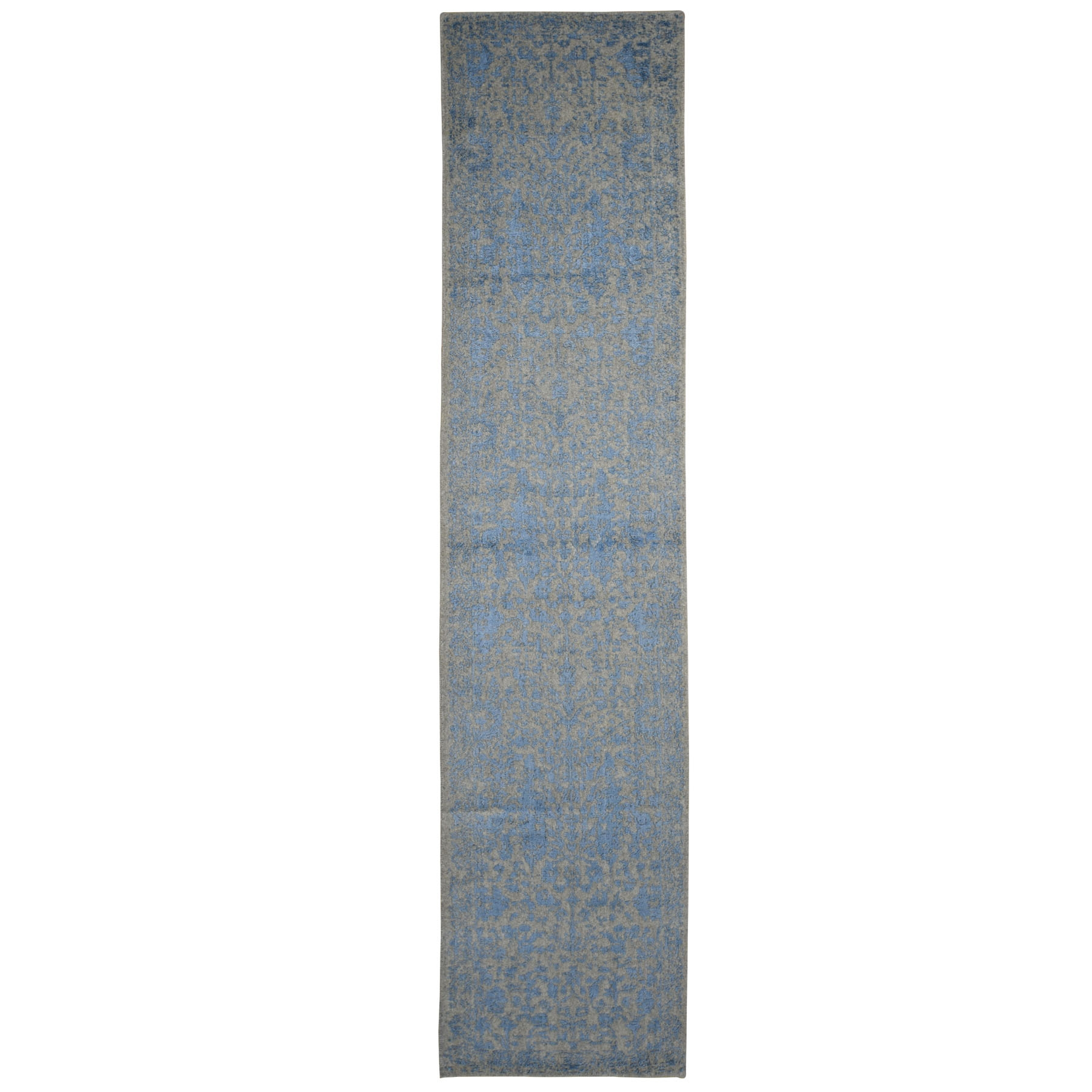 "2'6""x12'2"" Jacquard Hand Loomed Blue Broken Cypress Tree Design Silken Thick And Plush Runner Oriental Rug"