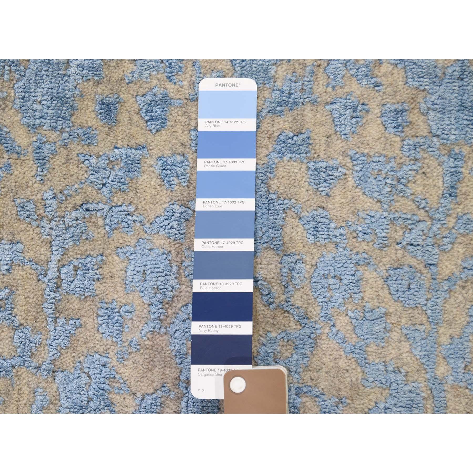 "2'5""x8' Jacquard Hand Loomed Blue Broken Cypress Tree Design Silken Thick And Plush Runner Oriental Rug"