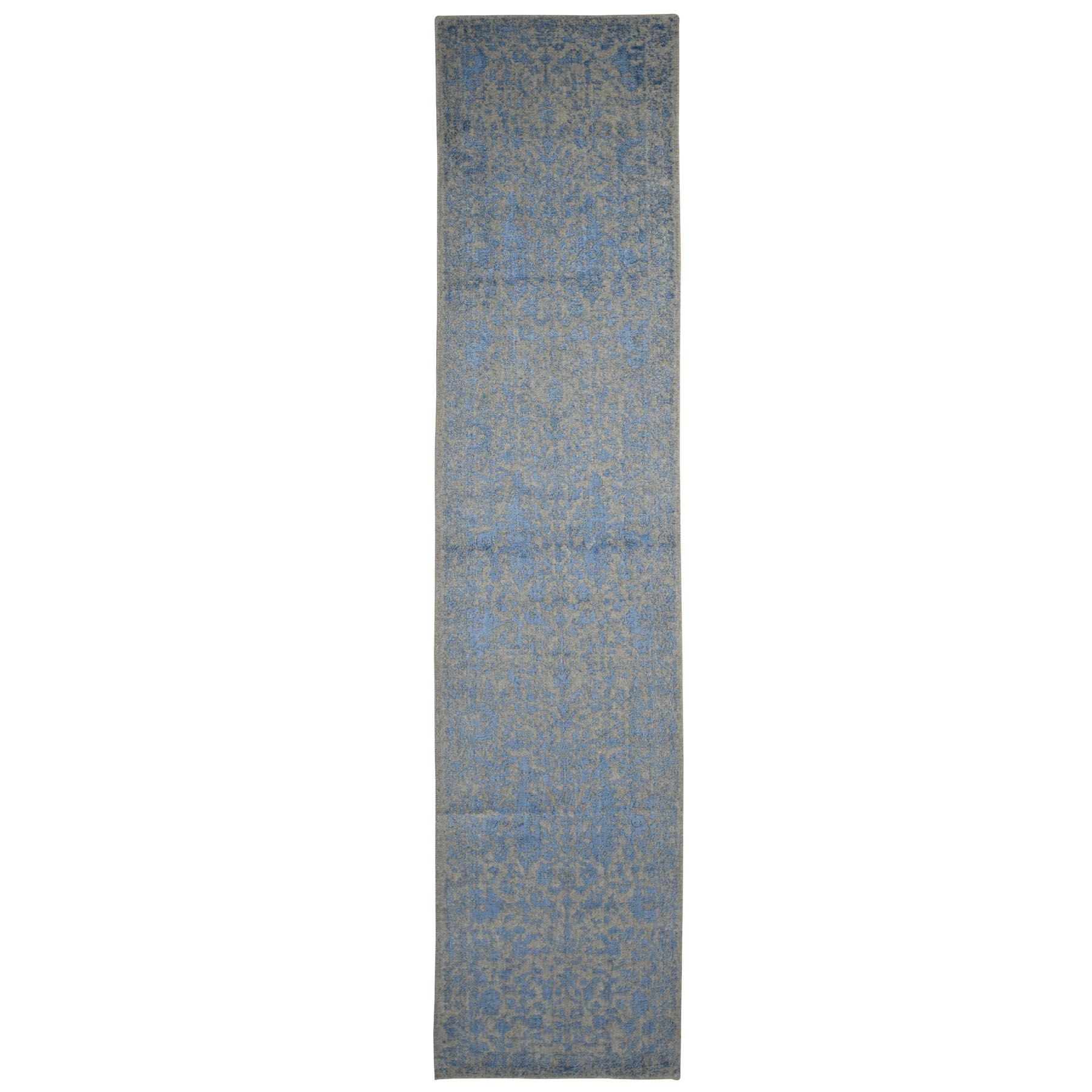 "2'5""X12'1"" Jacquard Hand Loomed Blue Broken Cypress Tree Design Silken Thick And Plush Runner Oriental Rug moad9a66"