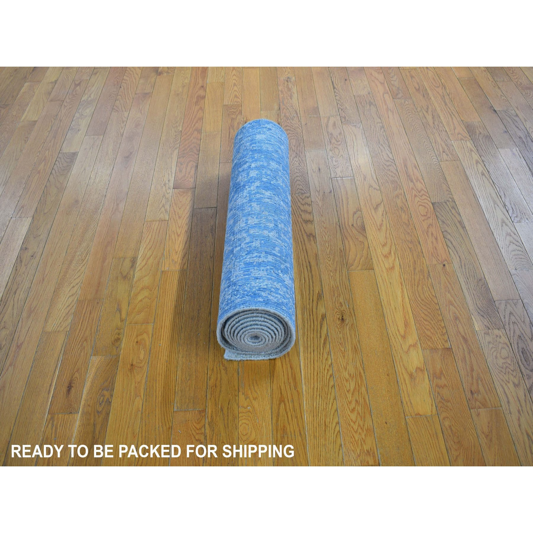 "2'5""x12'1"" Jacquard Hand Loomed Blue Broken Cypress Tree Design Silken Thick And Plush Runner Oriental Rug"