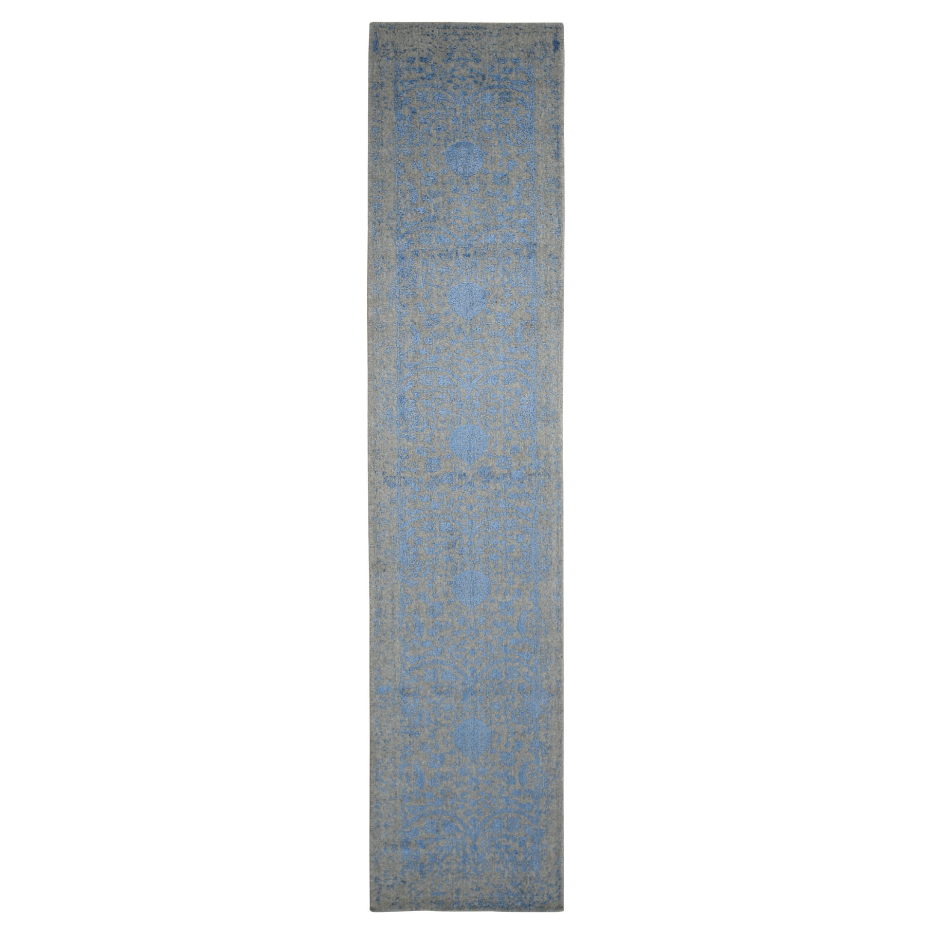"2'5""X12' Blue Jacquard Hand Loomed Wool And Art Silk Pomegranate Design Runner Oriental Rug moad9a67"