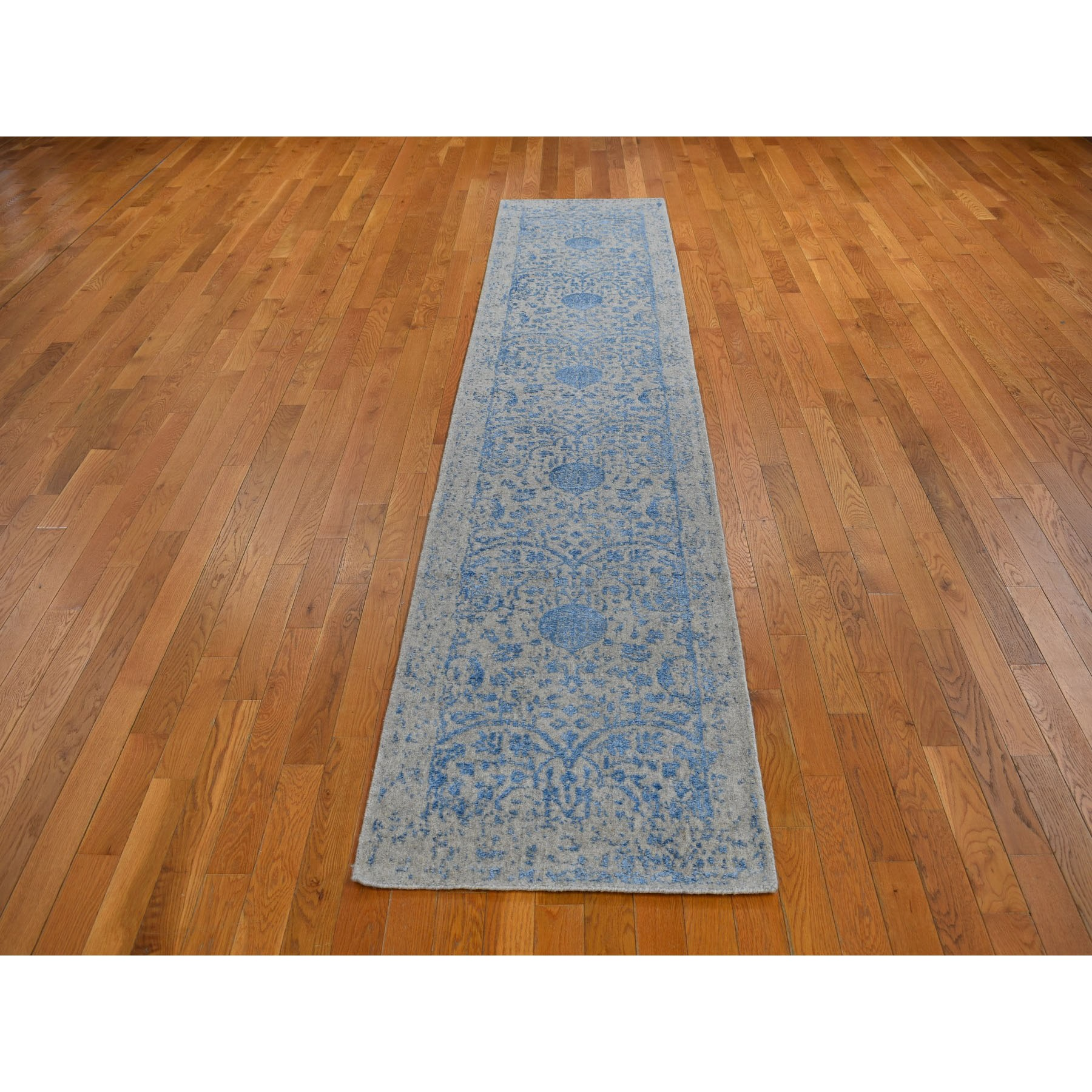 "2'5""x12' Blue Jacquard Hand Loomed Wool and Art Silk Pomegranate Design Runner Oriental Rug"