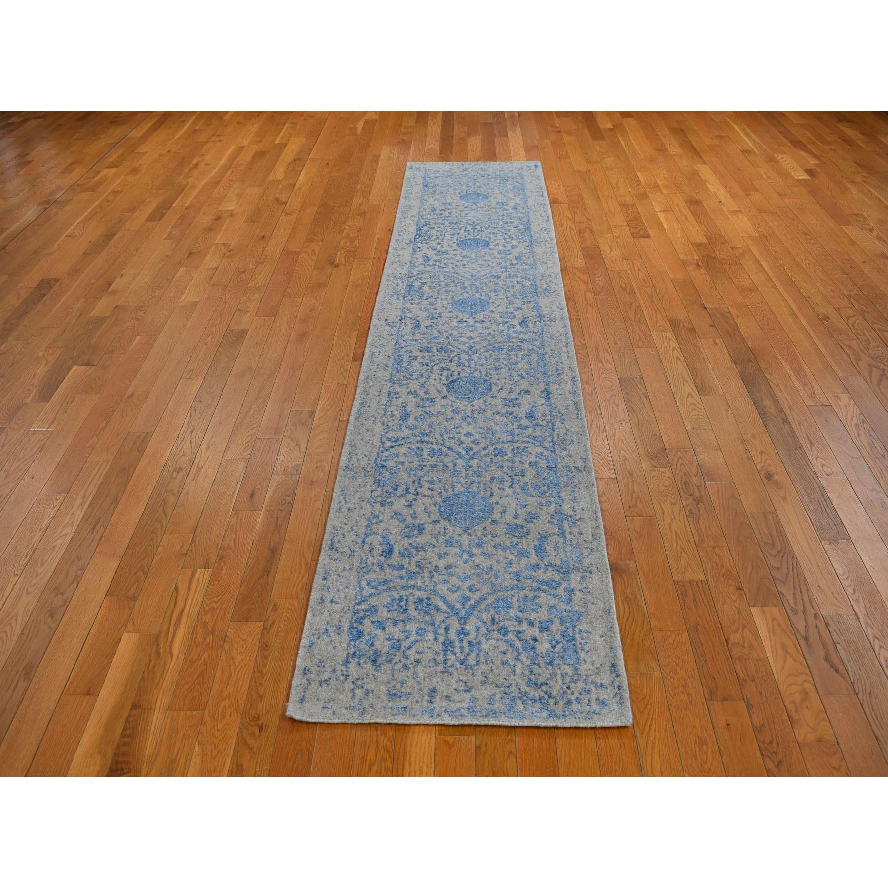 "2'5""x12' Blue Jacquard Hand Loomed Wool and Art Silk Pomegranate Design Runner Oriental Rug"