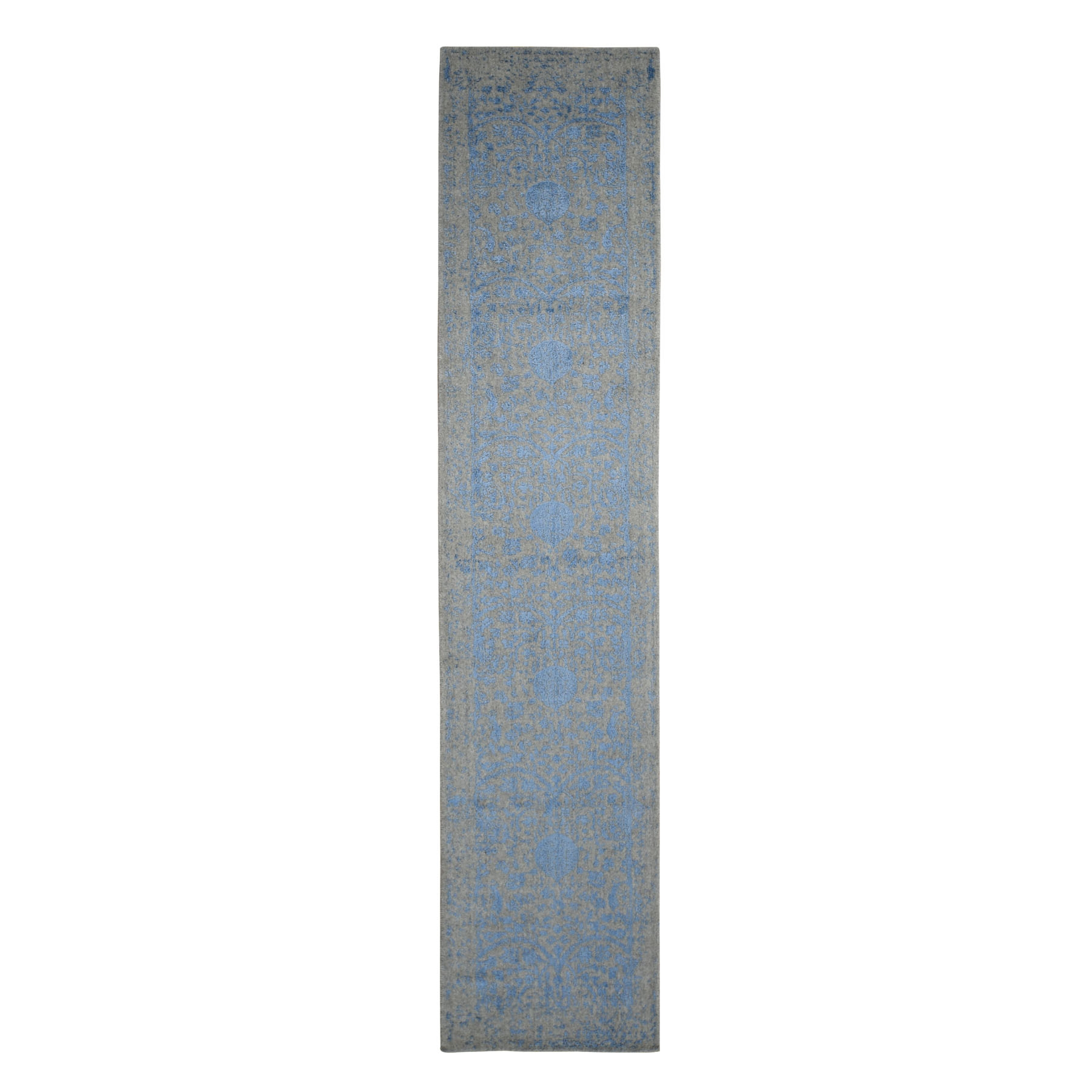 "2'5""x10'1"" Blue Jacquard Hand Loomed Wool and Art Silk Pomegranate Design Runner Oriental Rug"