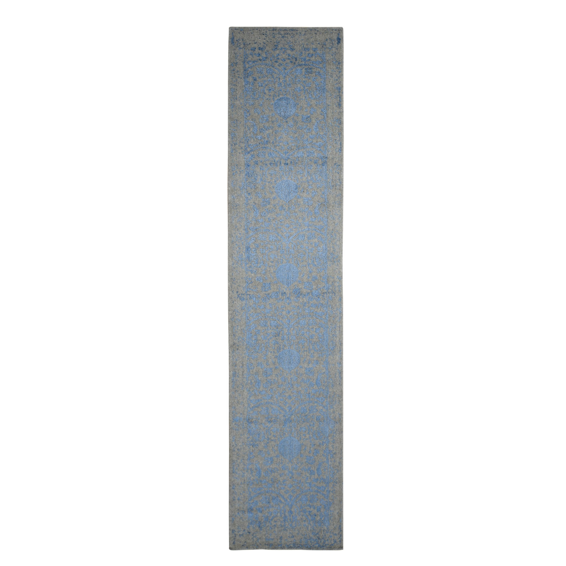 "2'5""x10' Blue Jacquard Hand Loomed Wool and Art Silk Pomegranate Design Runner Oriental Rug"