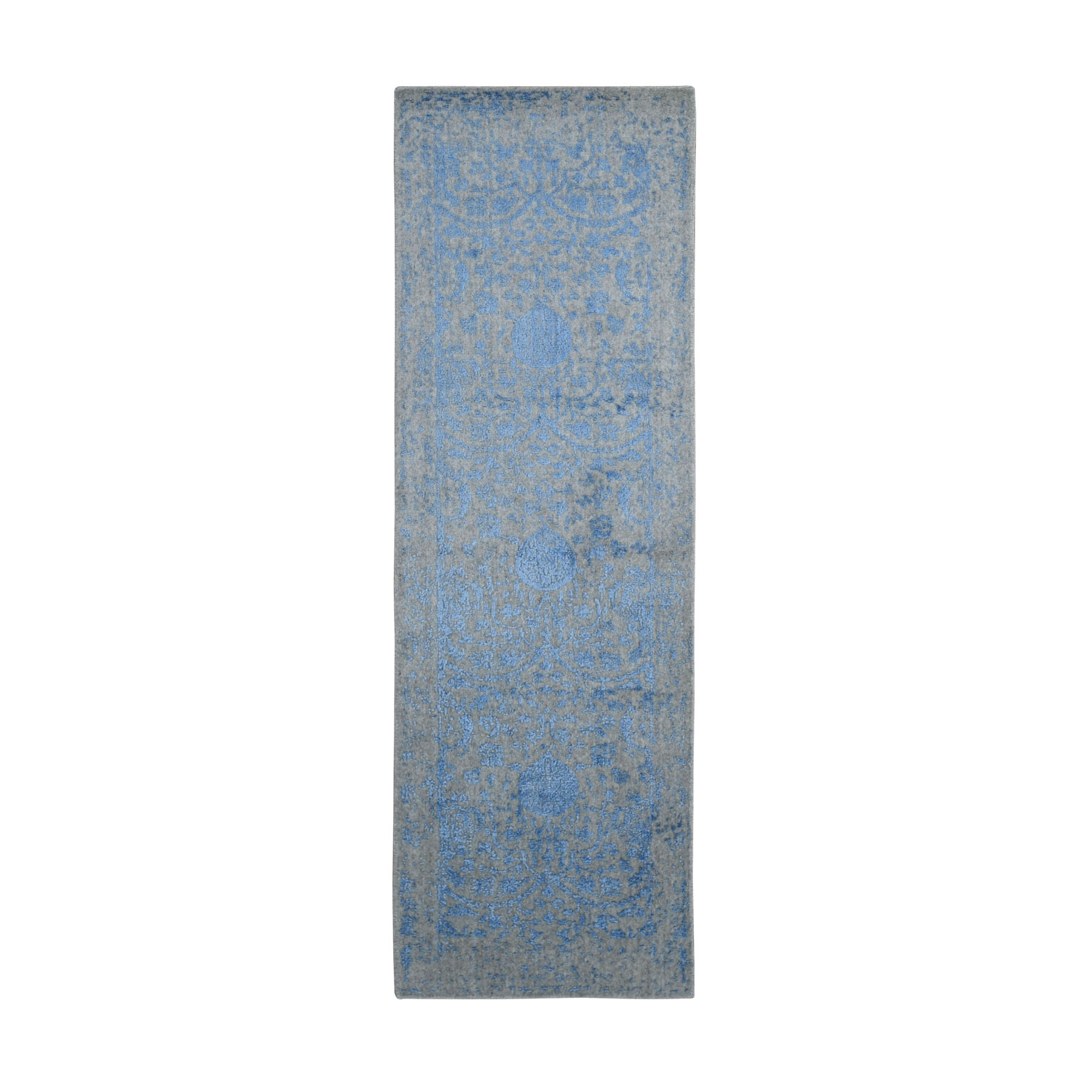 "2'5""X7'9"" Blue Jacquard Hand Loomed Wool And Art Silk Pomegranate Design Runner Oriental Rug moad9a7a"