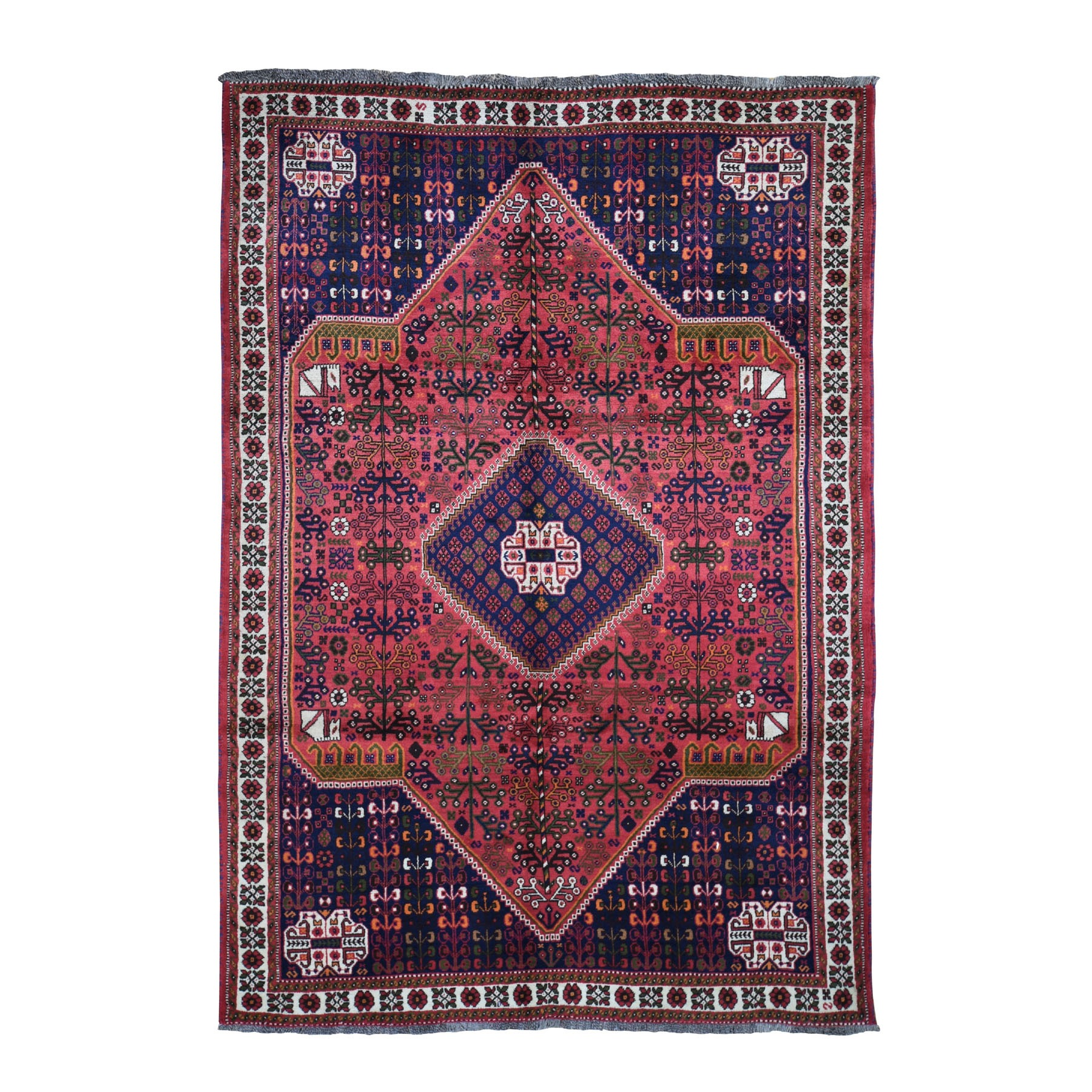 "6'6""X9'8"" Red New Persian Shiraz Full Pile Hand Knotted Oriental Rug moad9a7c"