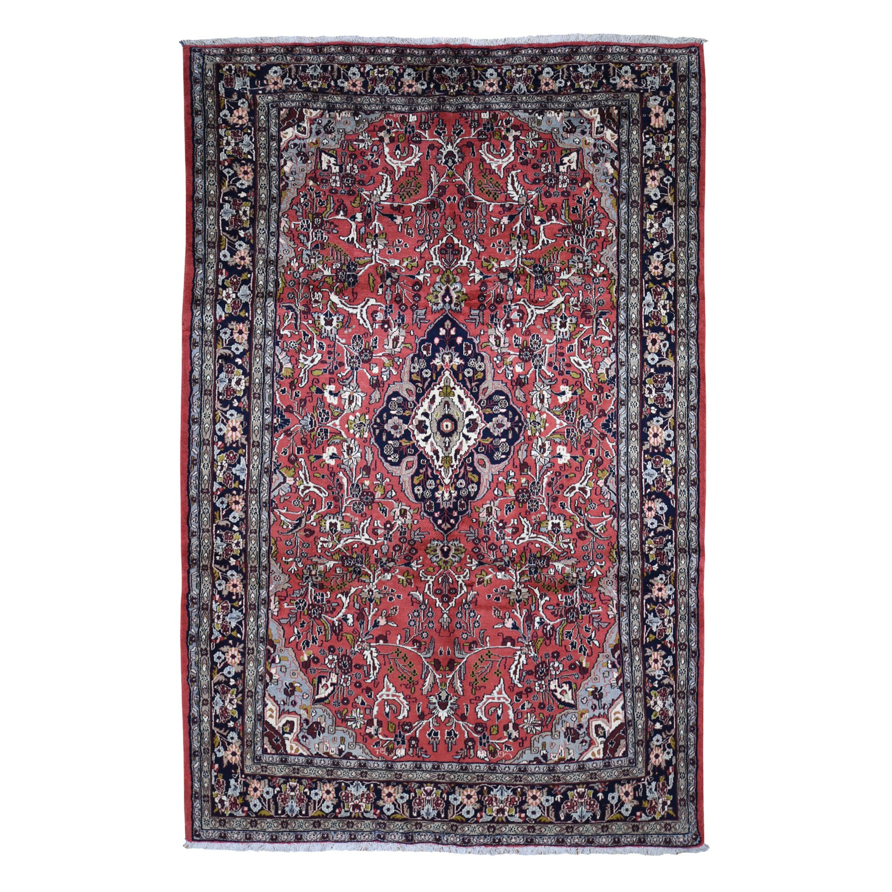 "6'9""x10'10"" Red New Persian Hamadan Full Pile Exc Cond Pure Wool Hand Knotted Oriental Rug"