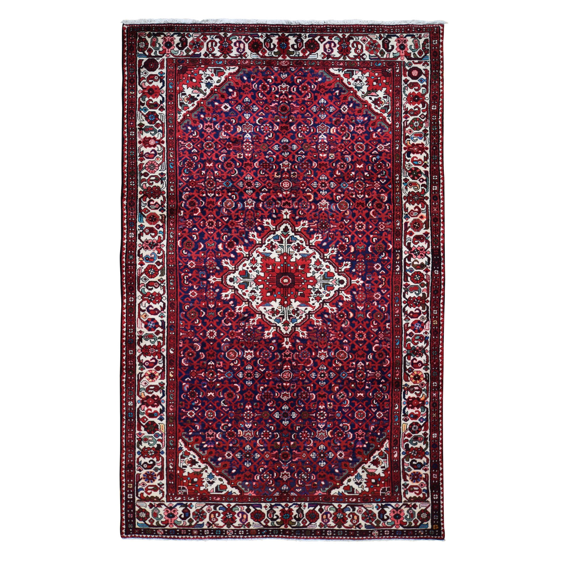 """6'x10'7"""" Navy Blue New Persian Hamadan Pure Wool Hand Knotted Oriental Rug"""