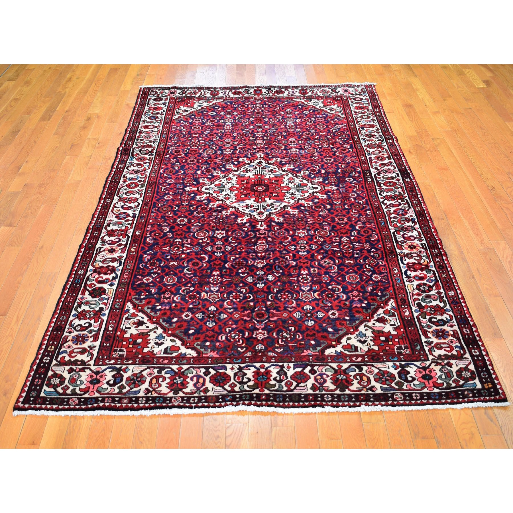"6'x10'7"" Navy Blue New Persian Hamadan Pure Wool Hand Knotted Oriental Rug"