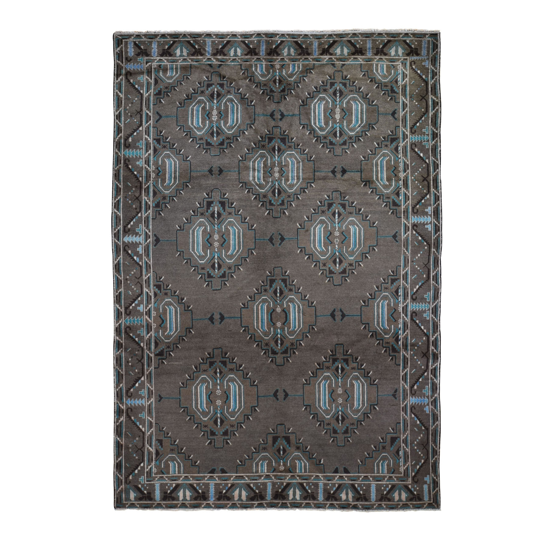 "6'8""X9'9"" Washed Out With Natural Colors Baluch Hand Knotted Pure Wool Oriental Rug moad9a76"