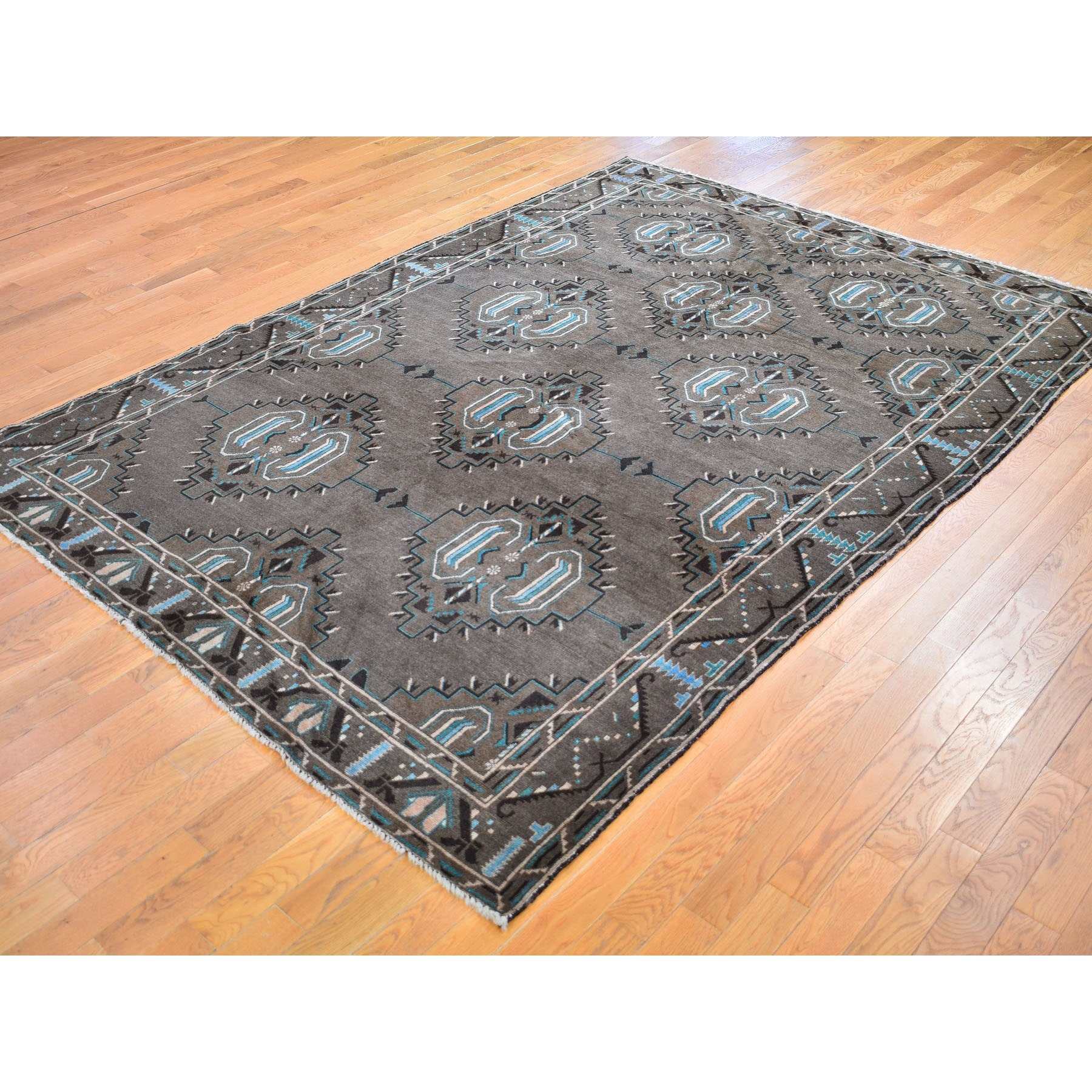 "6'8""x9'9"" Washed Out With Natural Colors Baluch Hand Knotted Pure Wool Oriental Rug"