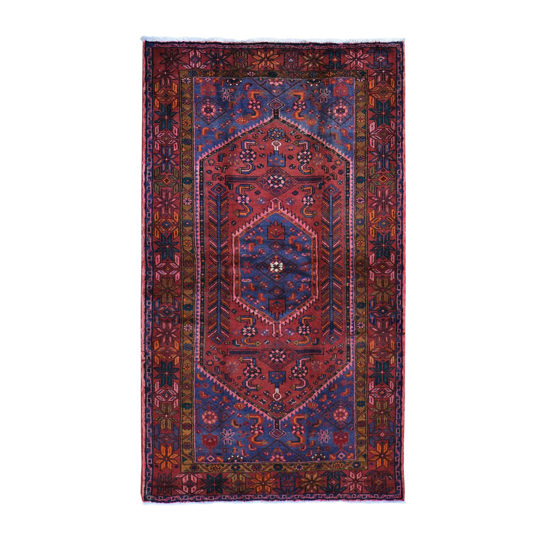 "4'5""x7'1"" Red New Persian Hamadan Pure Wool Hand Knotted Oriental Rug"