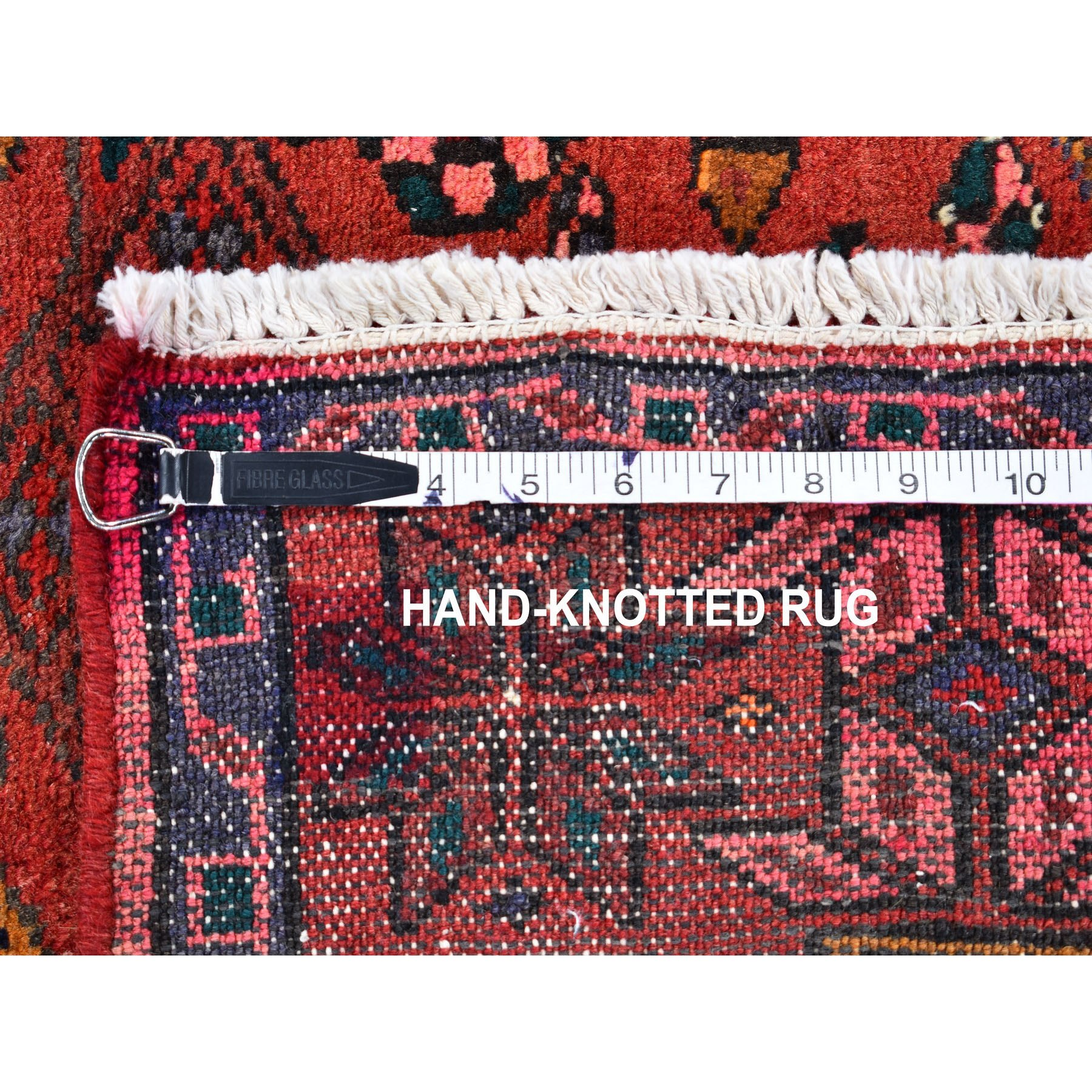 """4'5""""x7'1"""" Red New Persian Hamadan Pure Wool Hand Knotted Oriental Rug"""