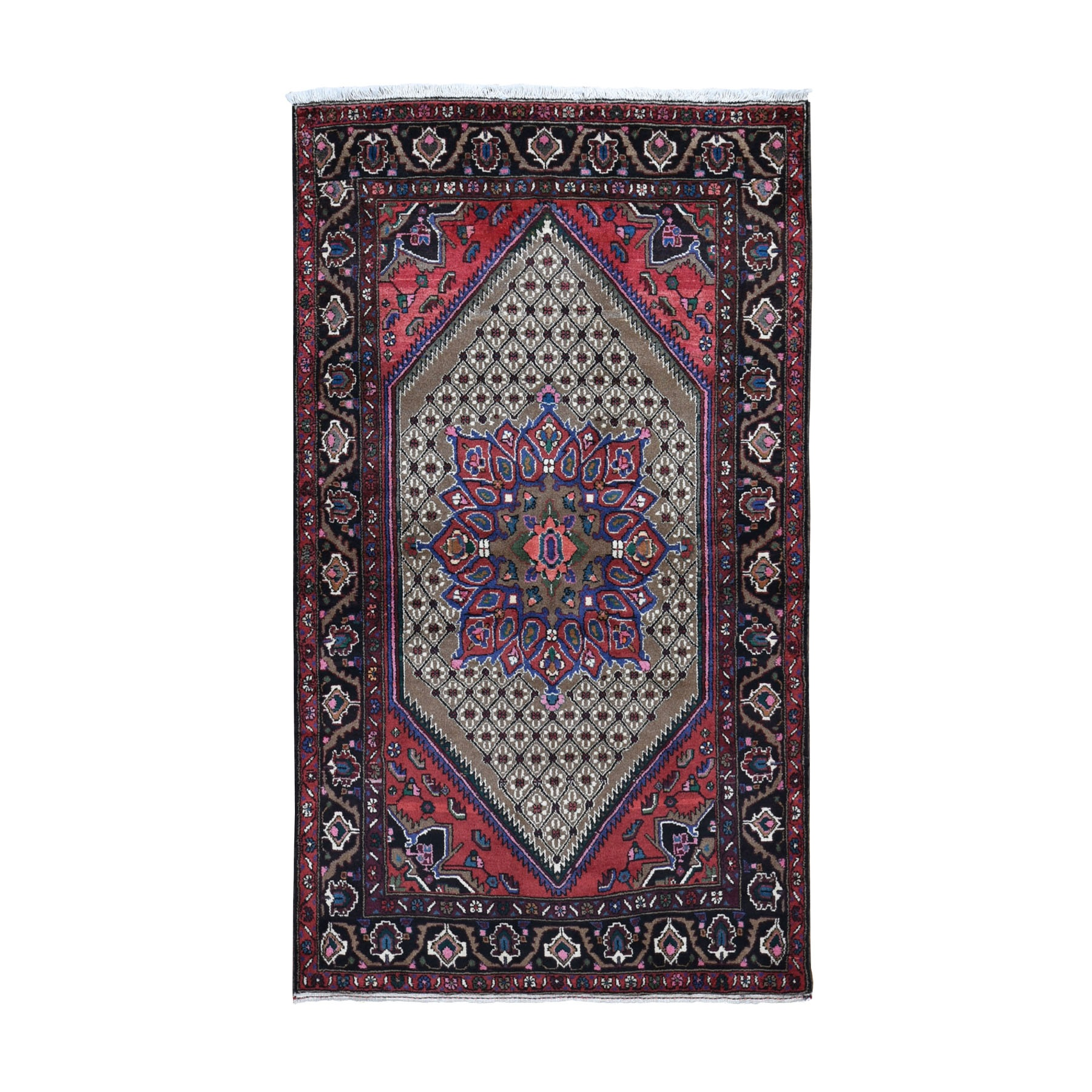 """4'1""""X6'9"""" Brown New Persian Serab Hand Knotted Oriental Rug moad9a79"""