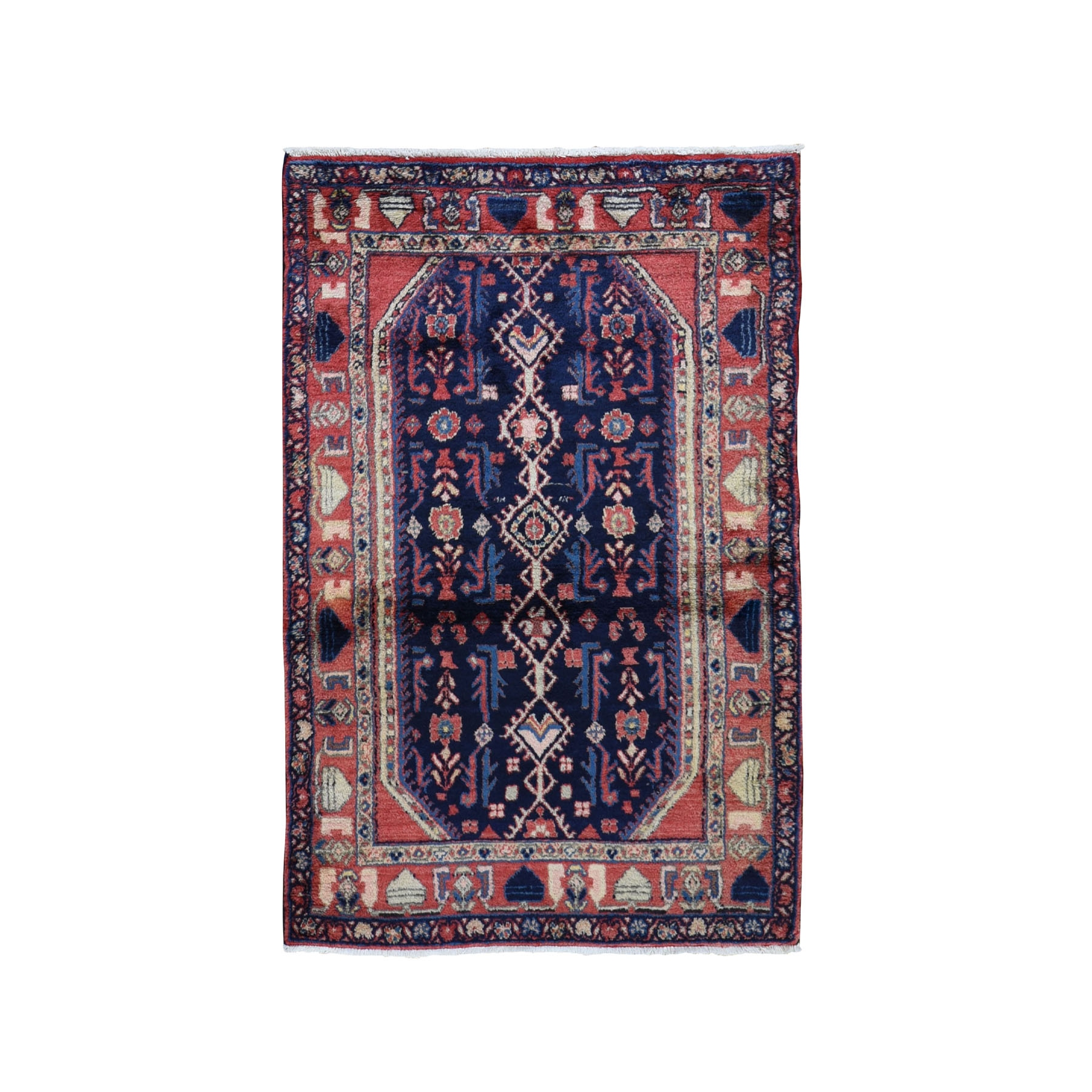 "3'5""X5'7"" Navy Blue New Persian Nahavand Pure Wool Hand Knotted Oriental Rug moad9a8a"