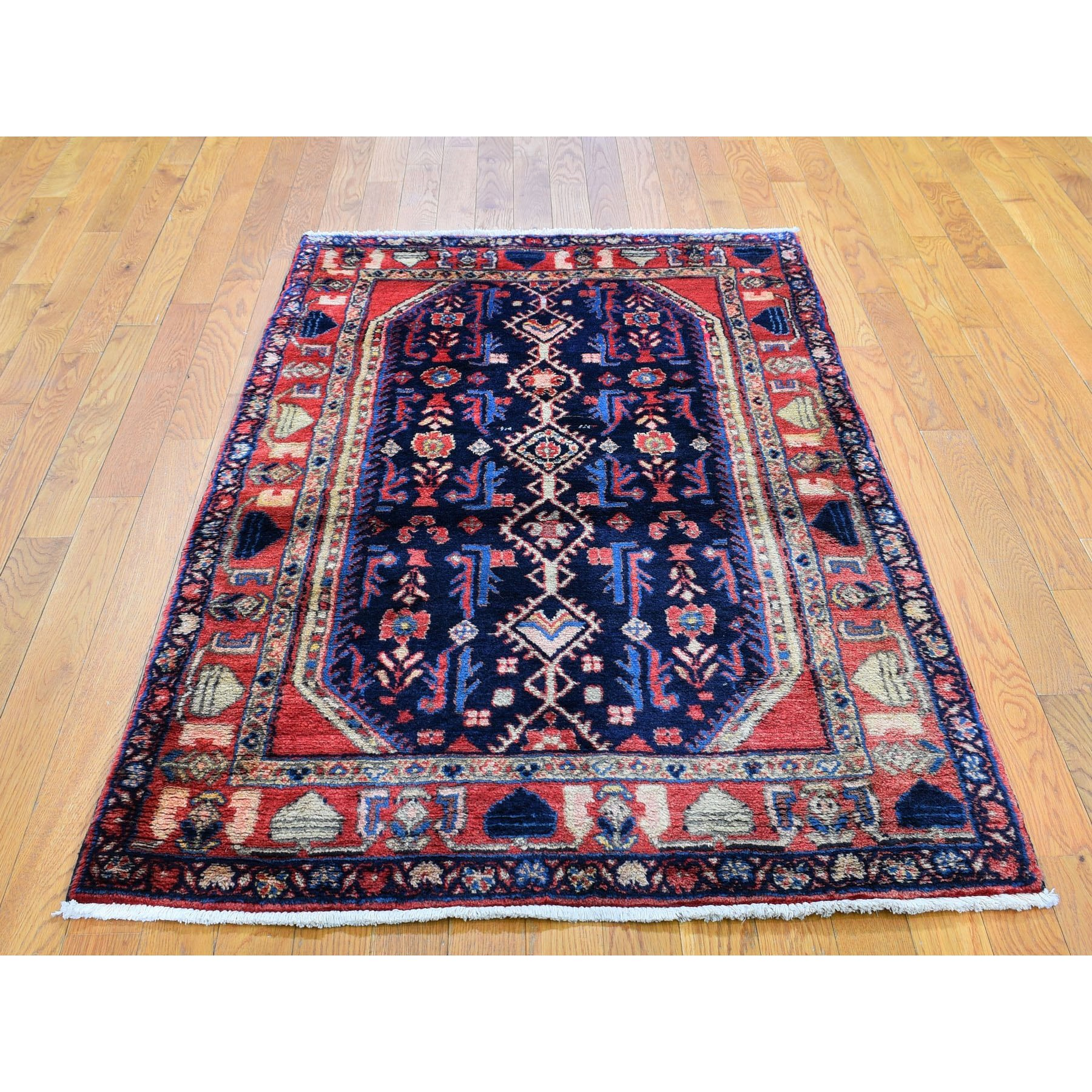 "3'5""x5'7"" Navy Blue New Persian Nahavand Pure Wool Hand Knotted Oriental Rug"