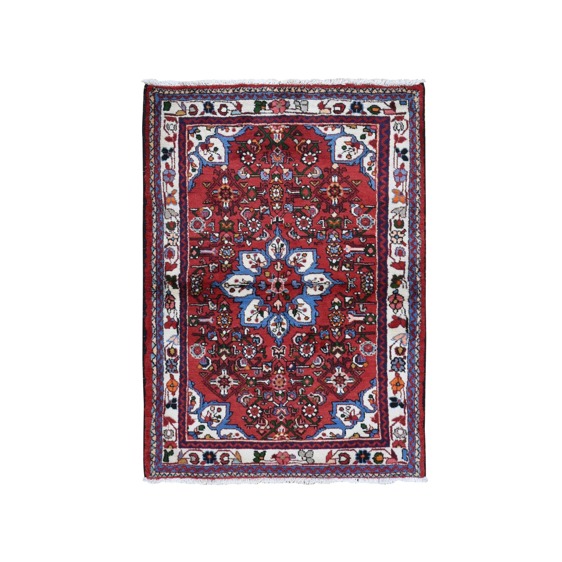 "3'6""x4'9"" Red New Persian Hamadan Pure Wool Hand Knotted Oriental Rug"
