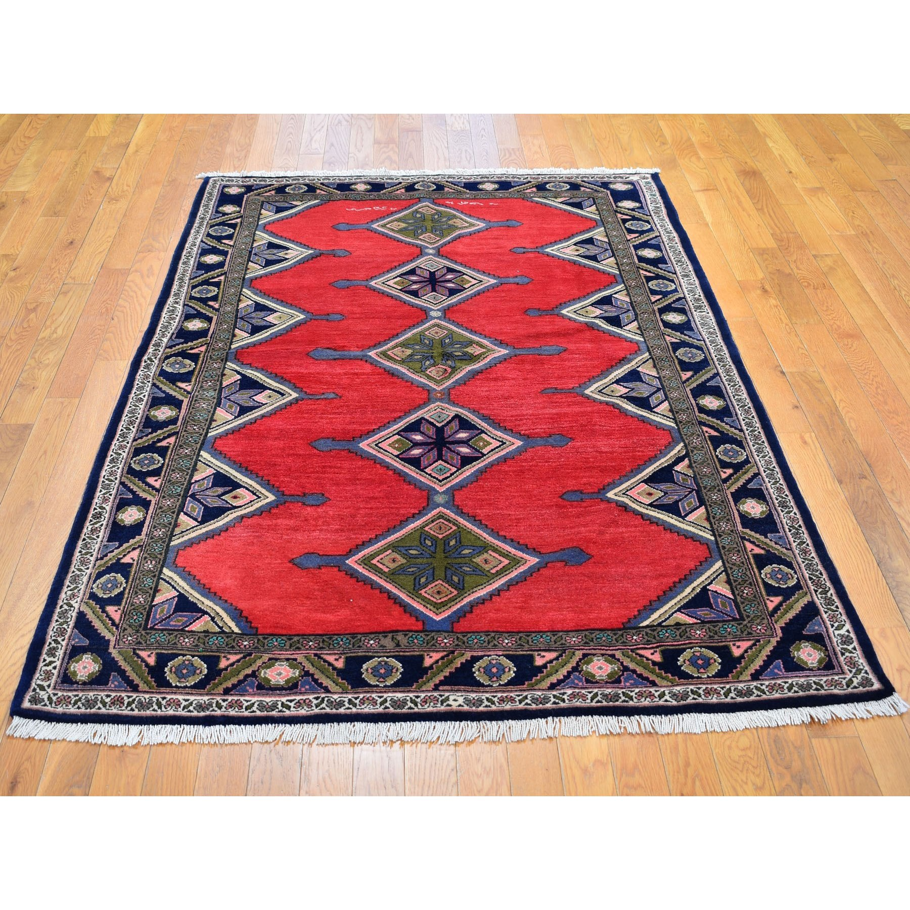 "4'9""x7'1""  Red New Persian Hamadan Signed Pure Wool Hand Knotted Oriental Rug"