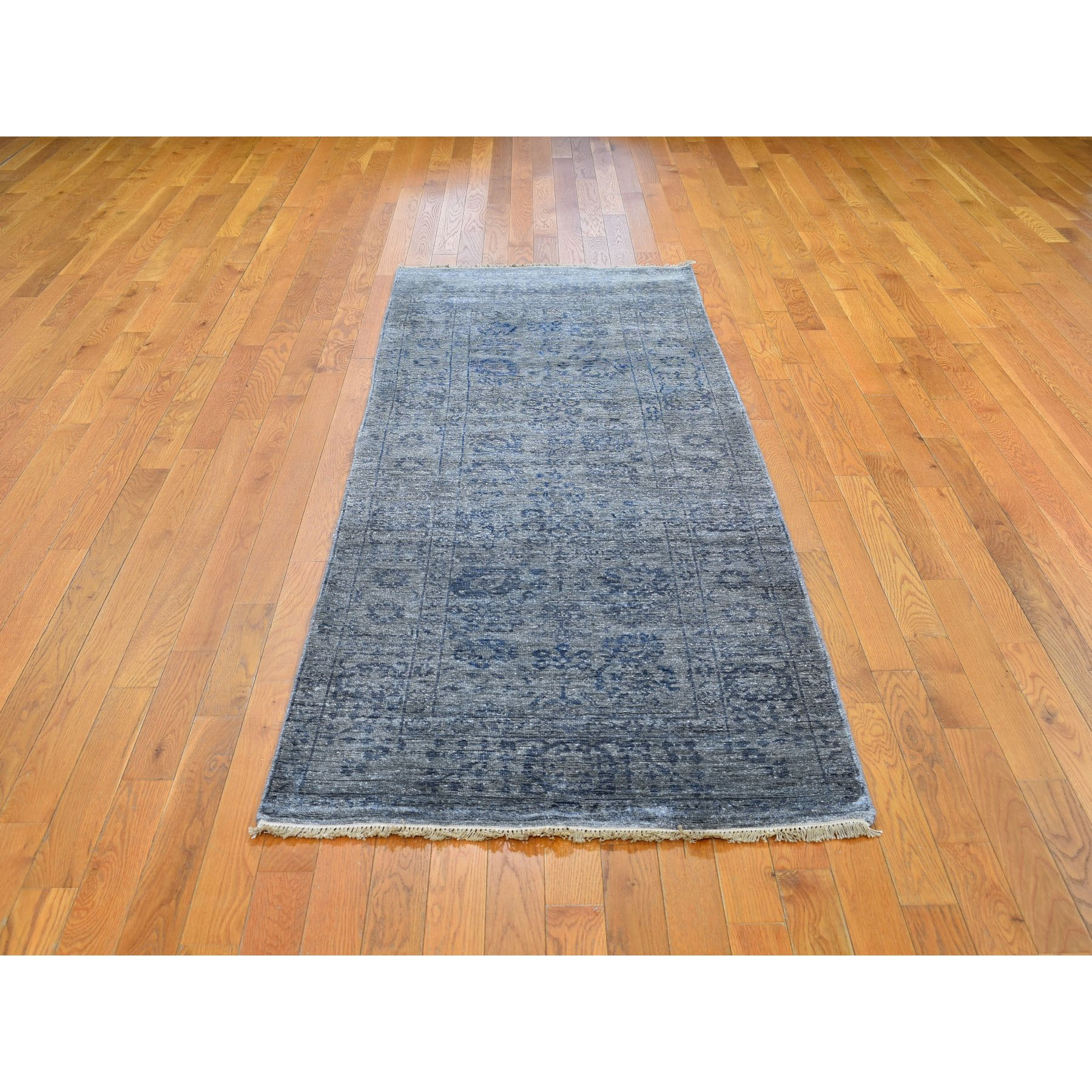"""3'1""""x8'3"""" Wool and Silk Tone on Tone Tabriz Hand Knotted Runner Oriental Rug"""