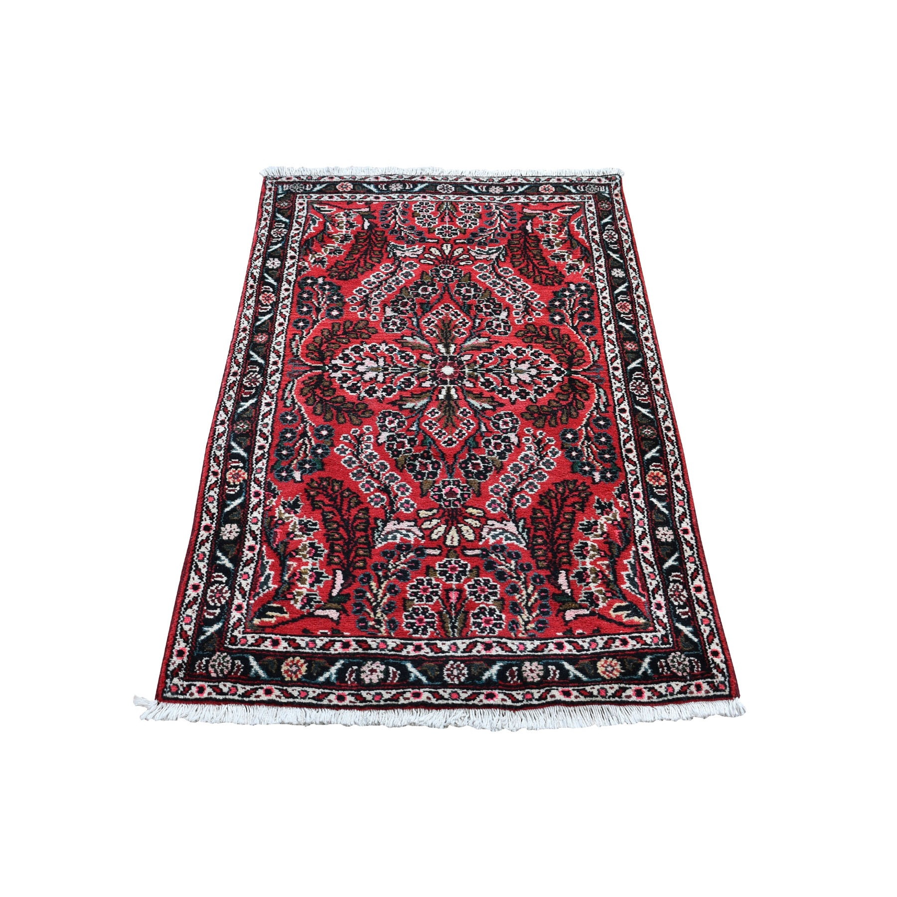 """2'5""""x4'3"""" Red New Persian Lilahan Pure Wool Hand Knotted Oriental Rug"""