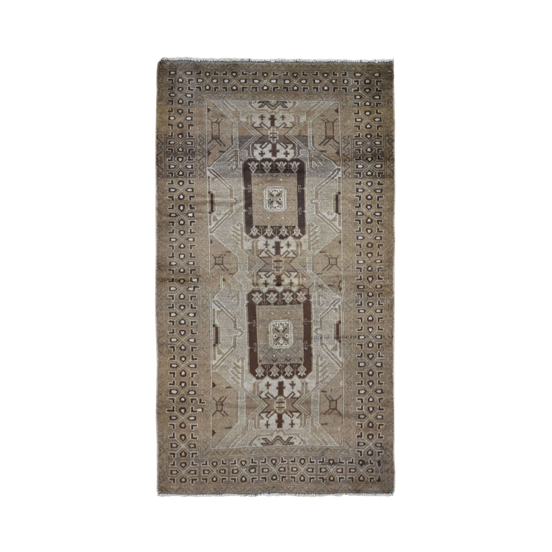 "3'5""x6'5"" Washed Out Afghan Baluch With Natural Colors Pure Wool Wide Runner Hand Knotted Oriental Rug"
