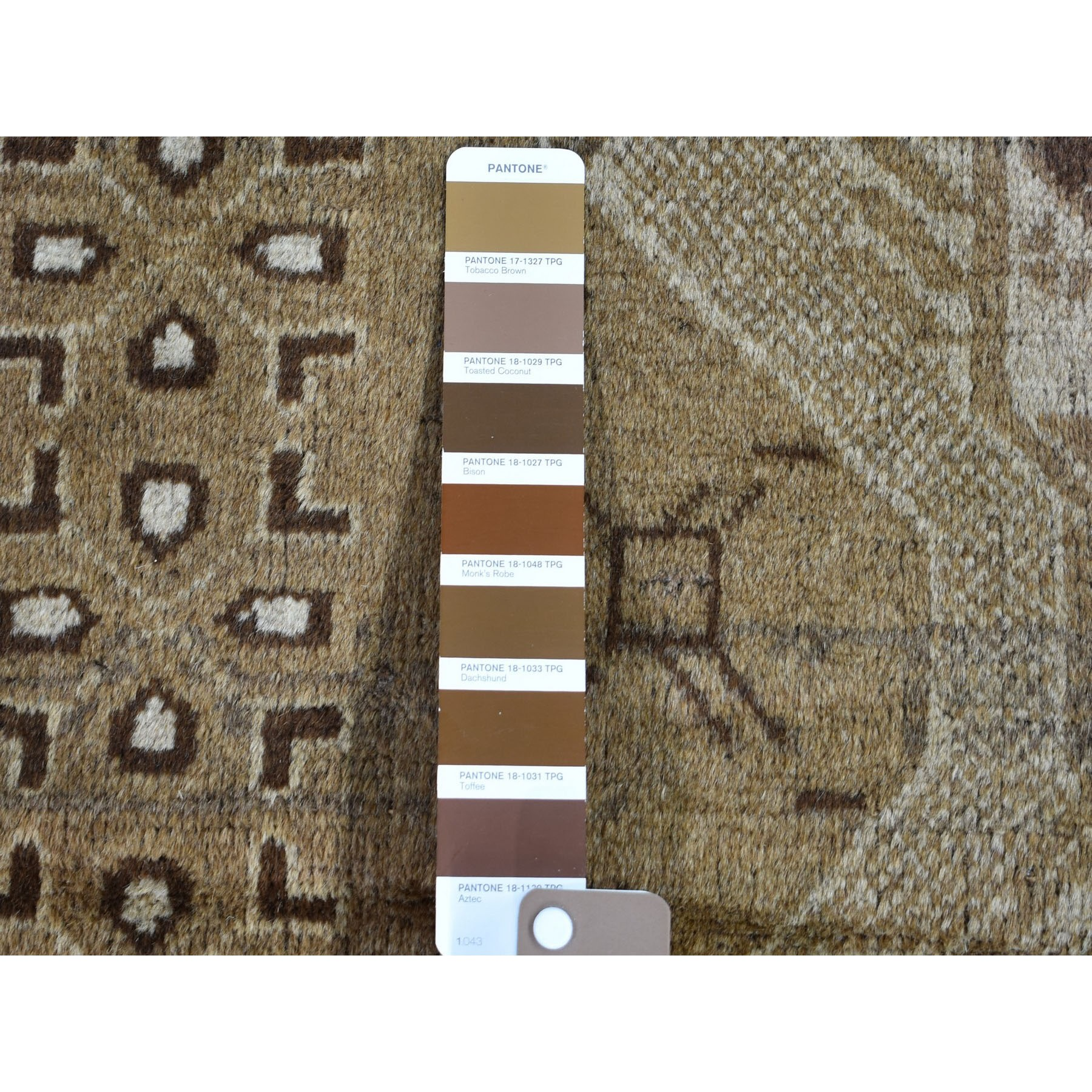 """3'5""""x6'5"""" Washed Out Afghan Baluch With Natural Colors Pure Wool Wide Runner Hand Knotted Oriental Rug"""