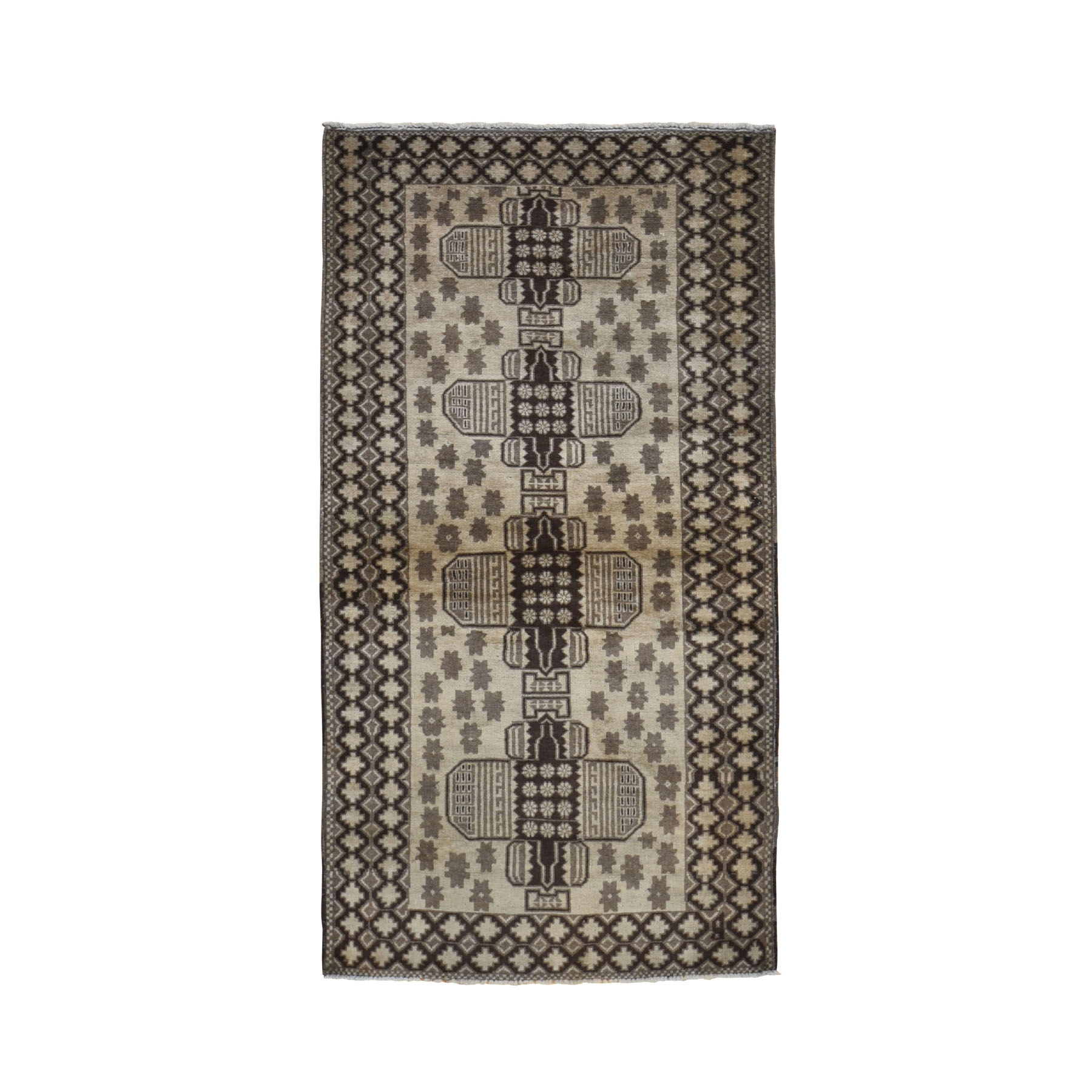 """3'3""""X6'6"""" Washed Out Afghan Baluch With Natural Colors Pure Wool Runner Hand Knotted Oriental Rug moad9a87"""