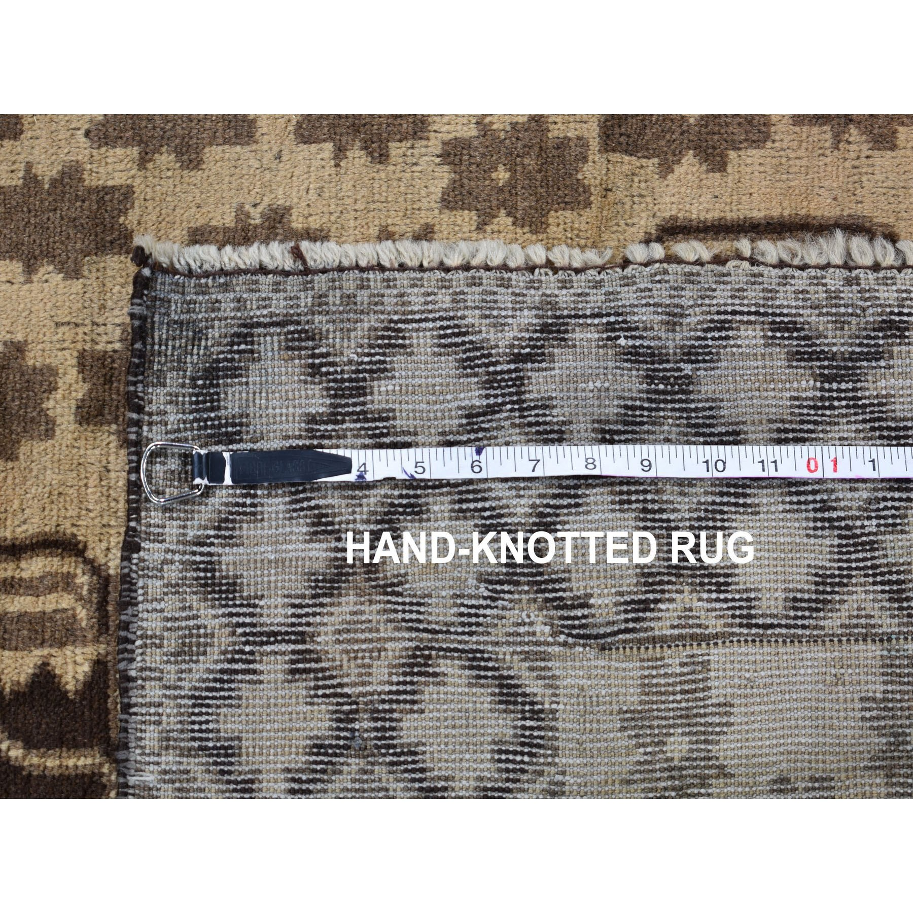 """3'3""""x6'6"""" Washed Out Afghan Baluch With Natural Colors Pure Wool Runner Hand Knotted Oriental Rug"""