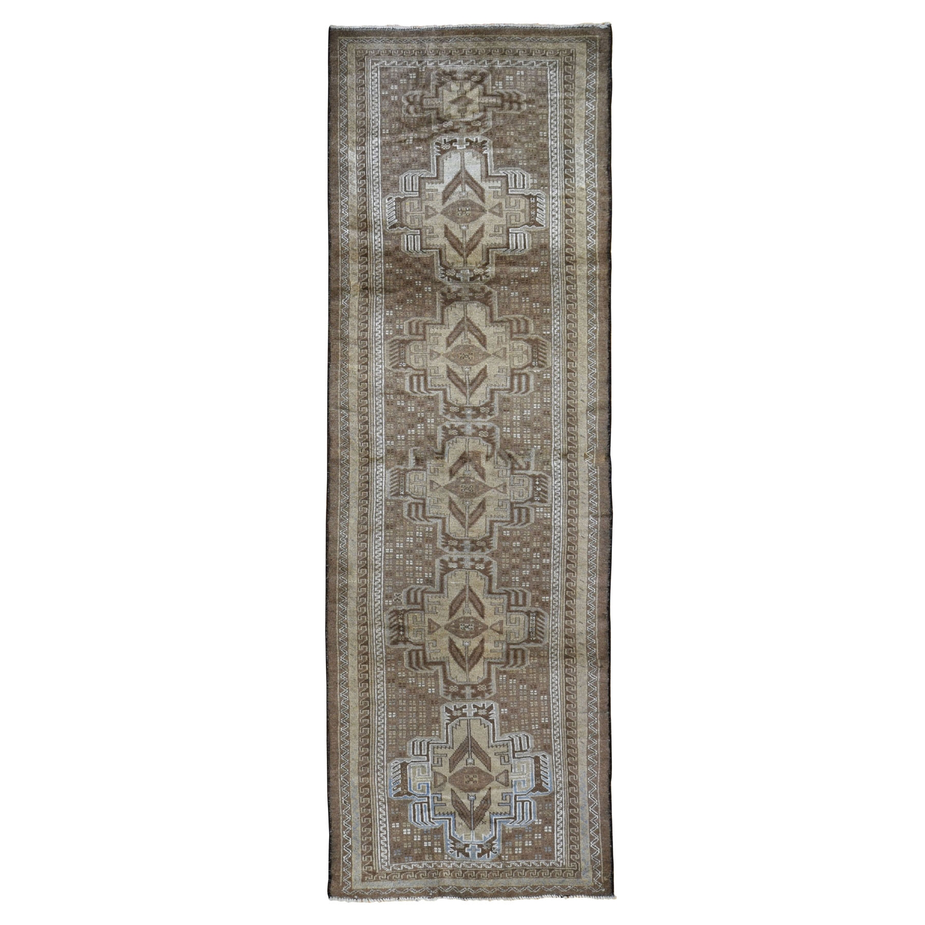 "2'9""x9'4"" Washed Out Afghan Baluch With Natural Colors Pure Wool Runner Hand Knotted Oriental Rug"