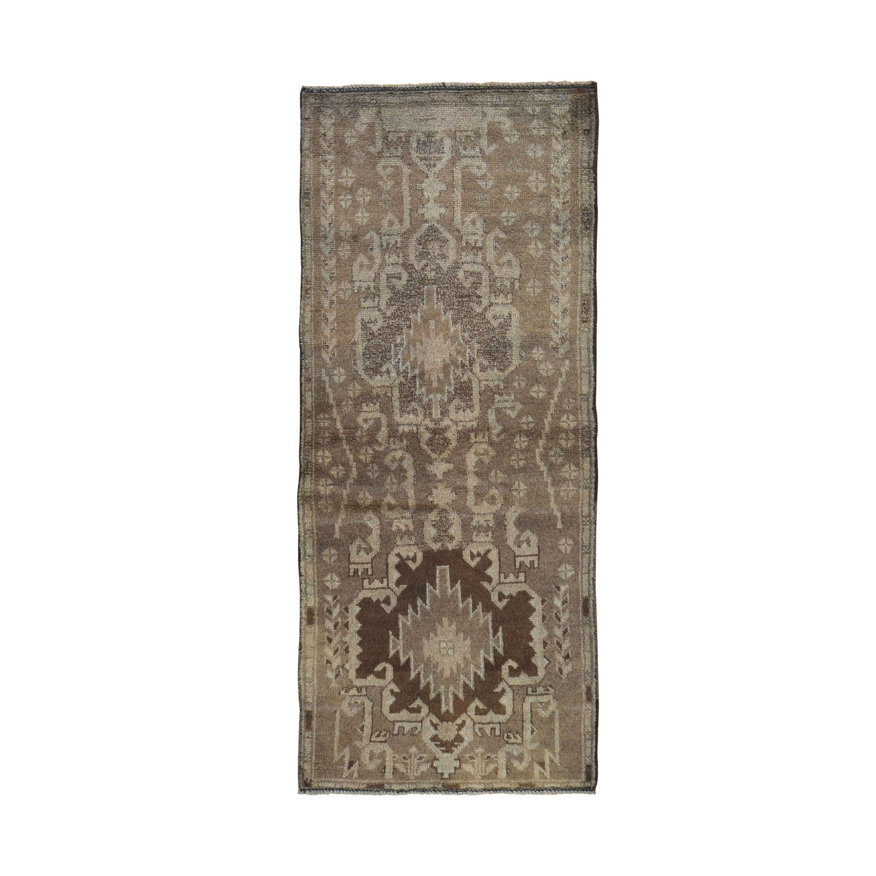 "2'7""x6'3"" Washed Out Afghan Baluch With Natural Colors Pure Wool Runner Hand Knotted Oriental Rug"