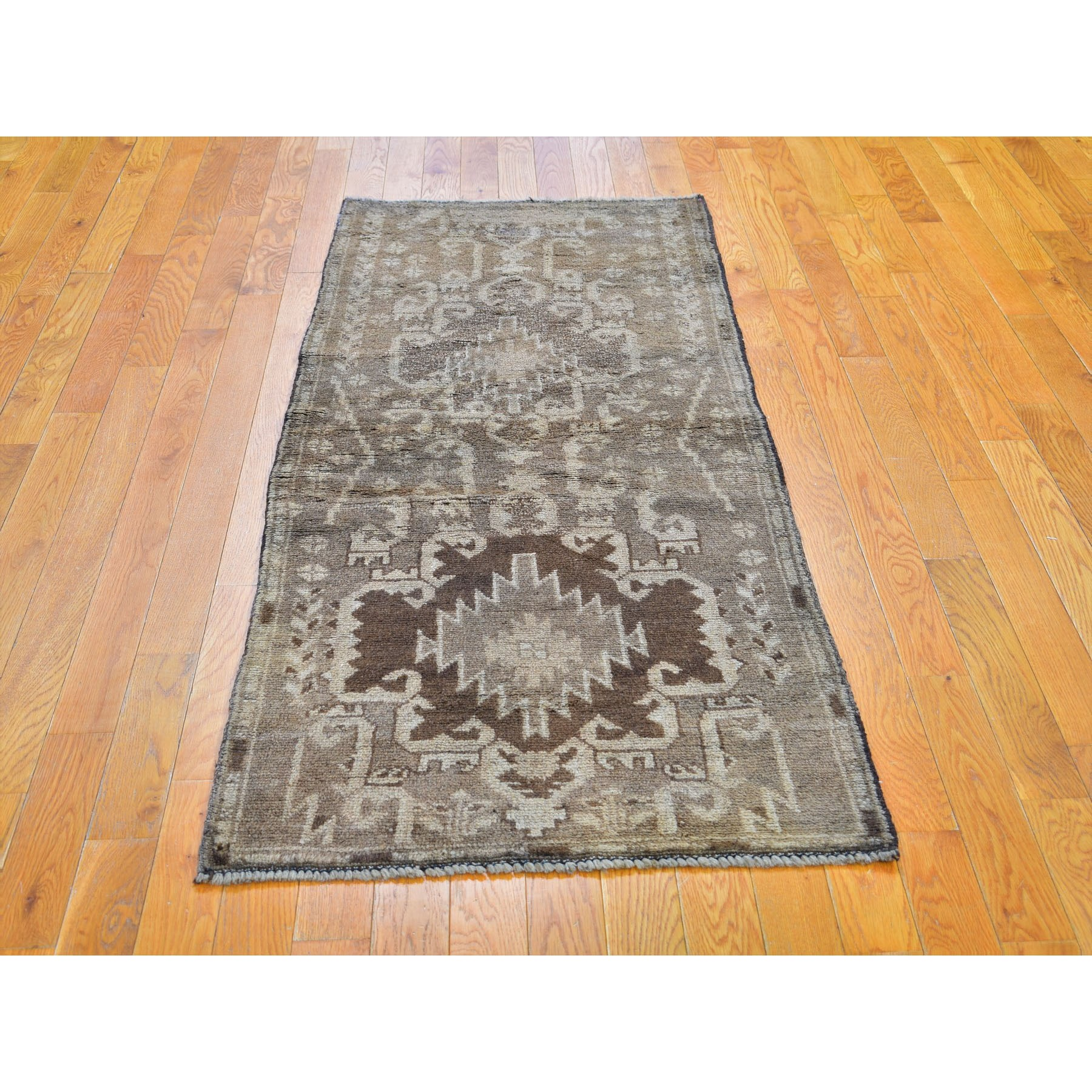 """2'7""""x6'3"""" Washed Out Afghan Baluch With Natural Colors Pure Wool Runner Hand Knotted Oriental Rug"""