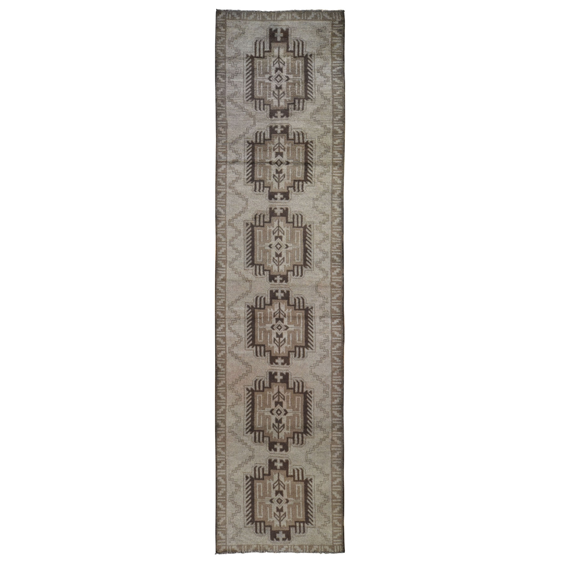 "2'10""X12'8"" Washed Out Afghan Baluch With Natural Colors Pure Wool Runner Hand Knotted Oriental Rug moad9a9a"