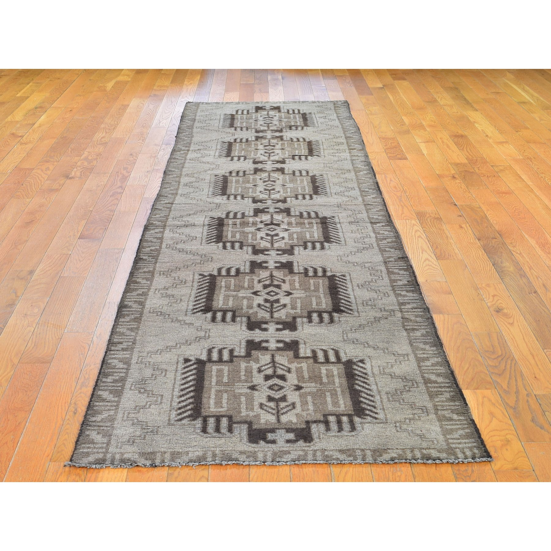 "2'10""x12'8"" Washed Out Afghan Baluch With Natural Colors Pure Wool Runner Hand Knotted Oriental Rug"