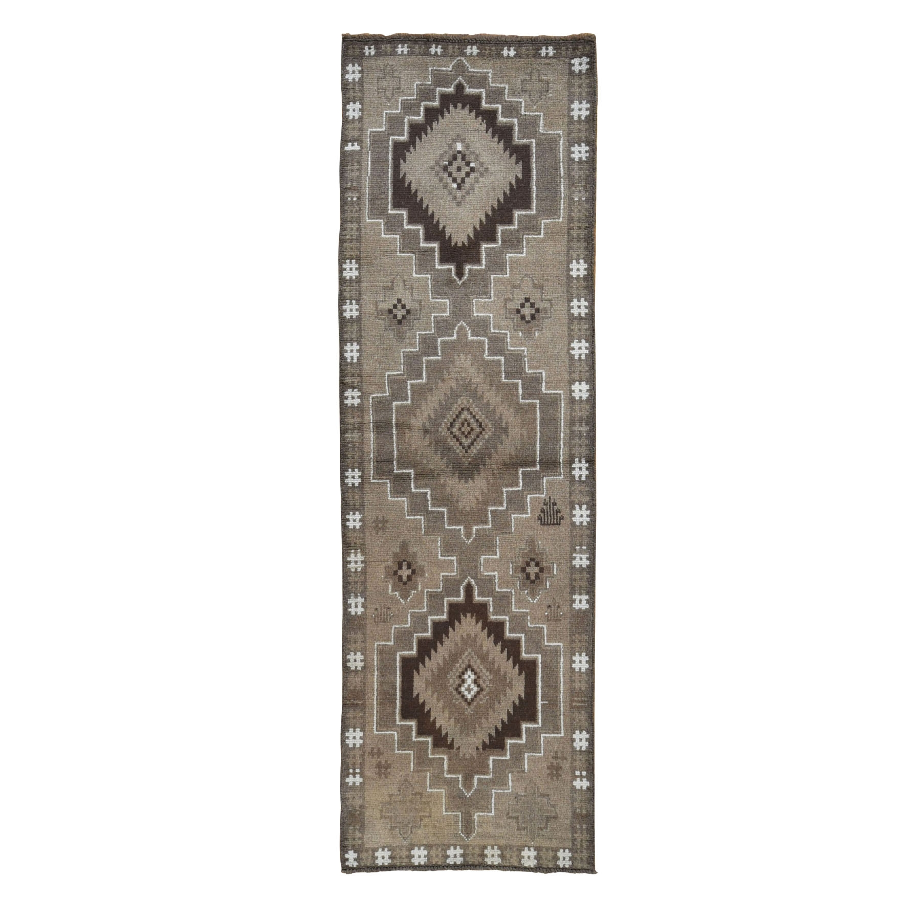 "2'5""x8'2"" Washed Out Afghan Baluch With Natural Colors Pure Wool Runner Hand Knotted Oriental Rug"