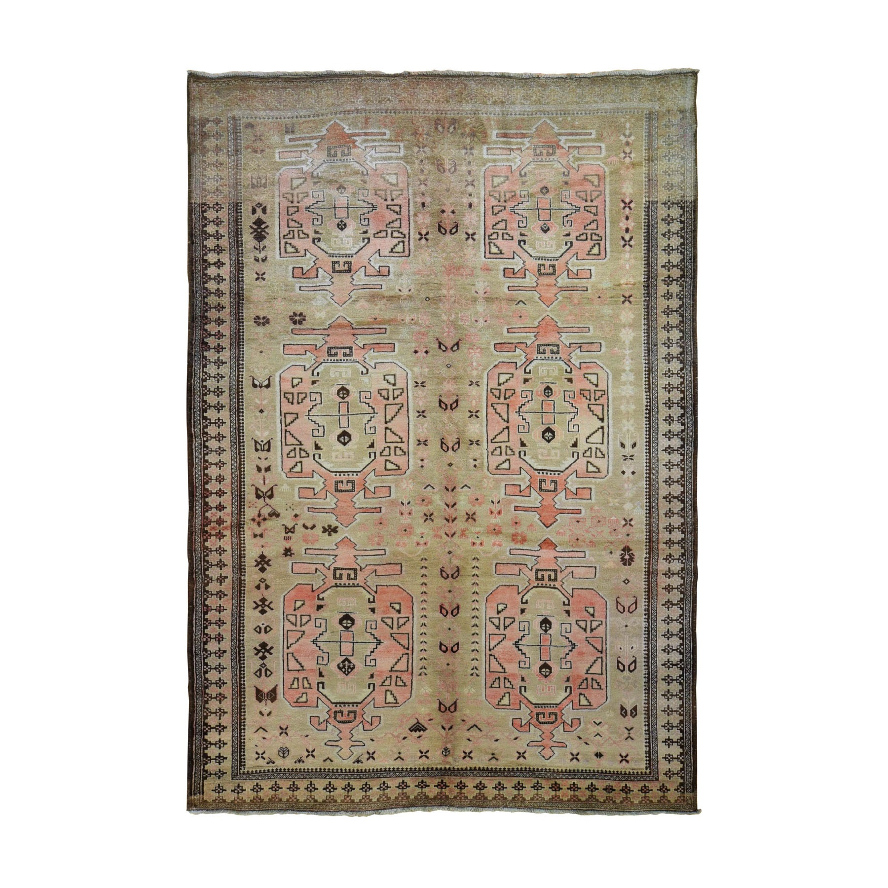 """6'5""""X9'4"""" Washed Out With Taupe And Salmon Color Pure Wool Hand Knotted Oriental Rug moad9a96"""