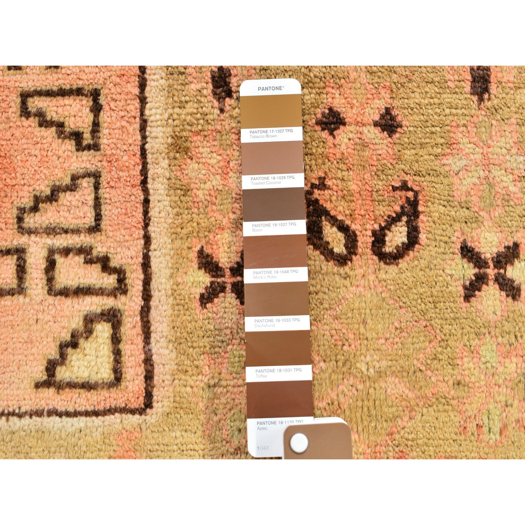"6'5""x9'4"" Washed Out With Taupe And Salmon Color Pure Wool Hand Knotted Oriental Rug"